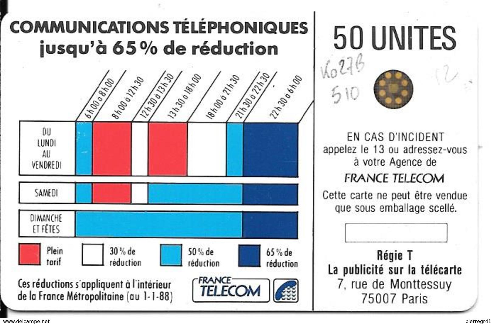 CARTE-PUBLIC-Ko27B.510-50U-SC4 Avec/E-Glacé-CORDON BLEU--5Pe(15684)-UTILISE-TBE - France