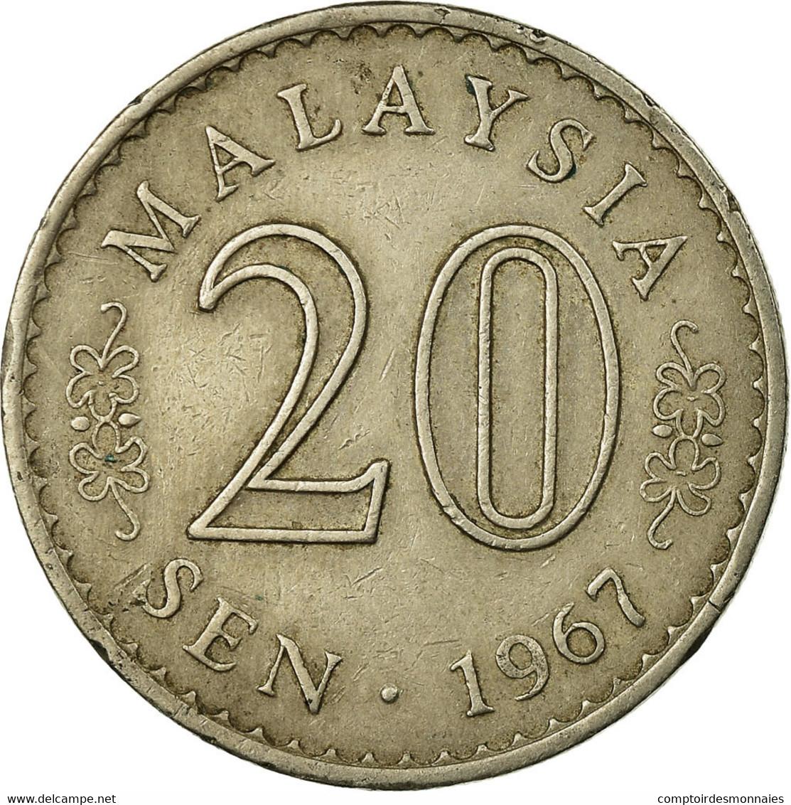 Monnaie, Malaysie, 20 Sen, 1967, Franklin Mint, TB, Copper-nickel, KM:4 - Malaysie