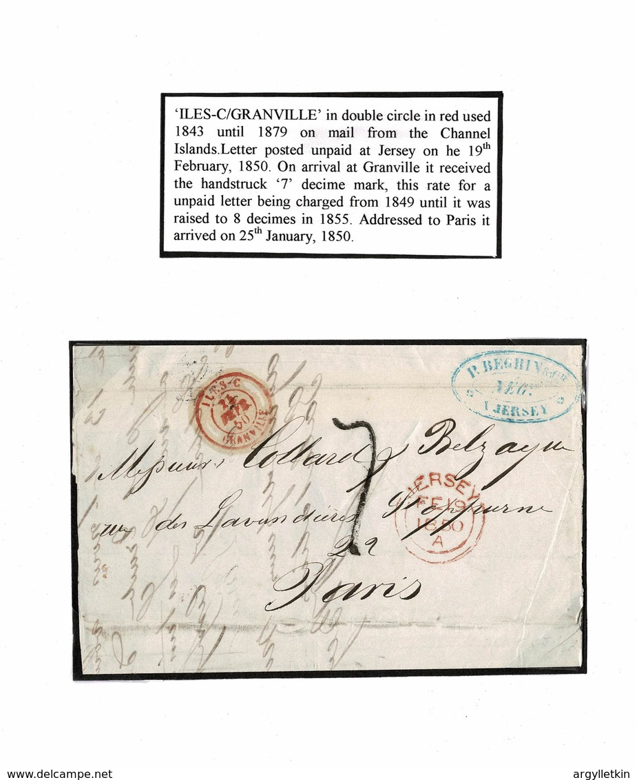 JERSEY GRANVILLE FRANCE MARITIME 1850 PARIS - Jersey