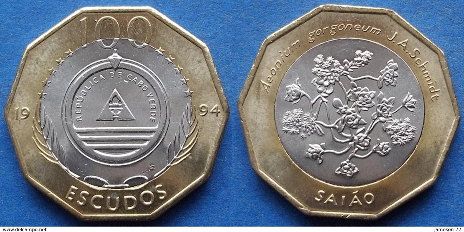 """CAPE VERDE - 100 Escudos 1994 """"saiao Flowers"""" KM# 38 - Edelweiss Coins - Cape Verde"""
