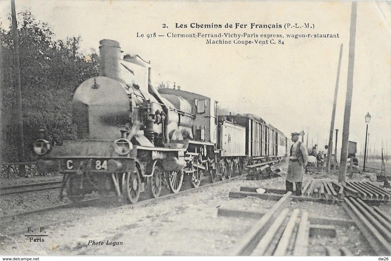 Les Chemins De Fer Français (P.L.M) Le 918 Clermont-Ferrand-Vichy-Paris Express, Wagon Restaurant - F.F. N° 2 - Trains