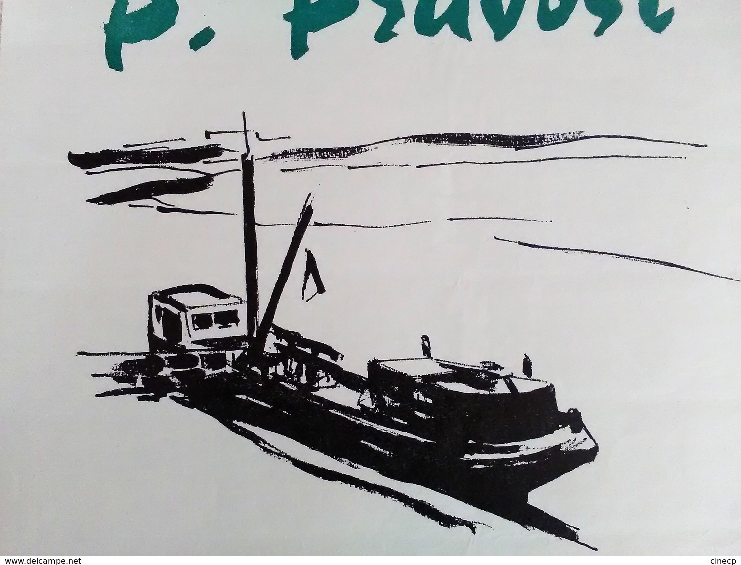 AFFICHE ANCIENNE ORIGINALE EXPOSITION 1963 P. PRUVOST Galerie Vendome Bateau - Affiches