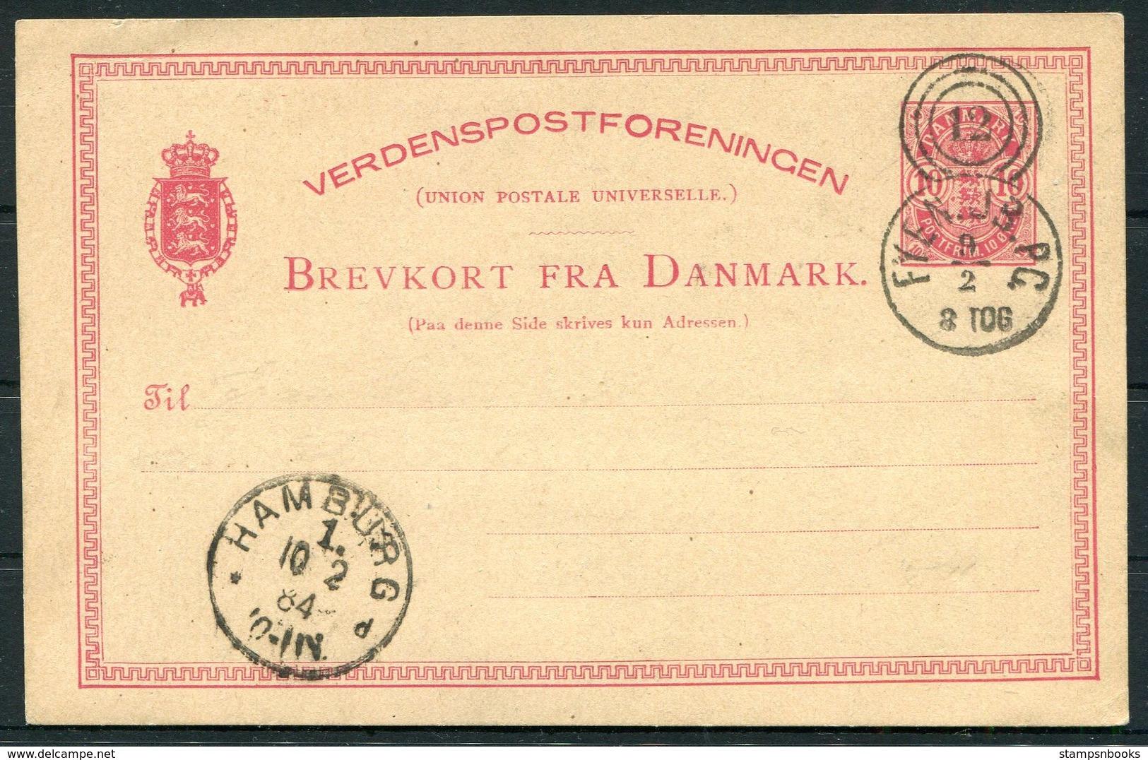 1884 Denmark 10ore Stationery Postcard Lapidarstempler Railway FYEN.JB.PC 12 Tog 8 - Hamburg - Lettere