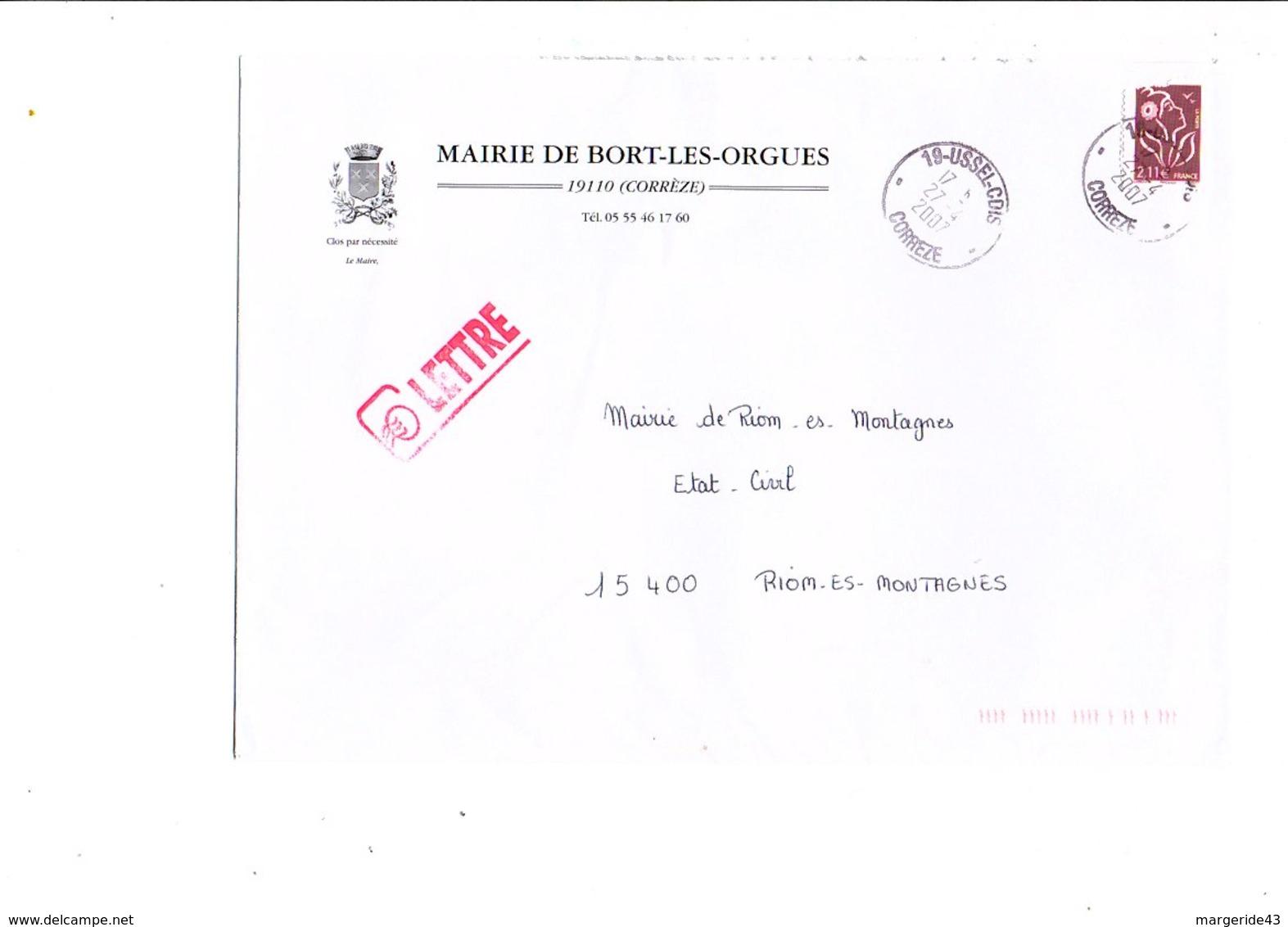 LETTRE DE MAIRIE DE BORT-LES-ORGUES CORREZE - Marcophilie (Lettres)
