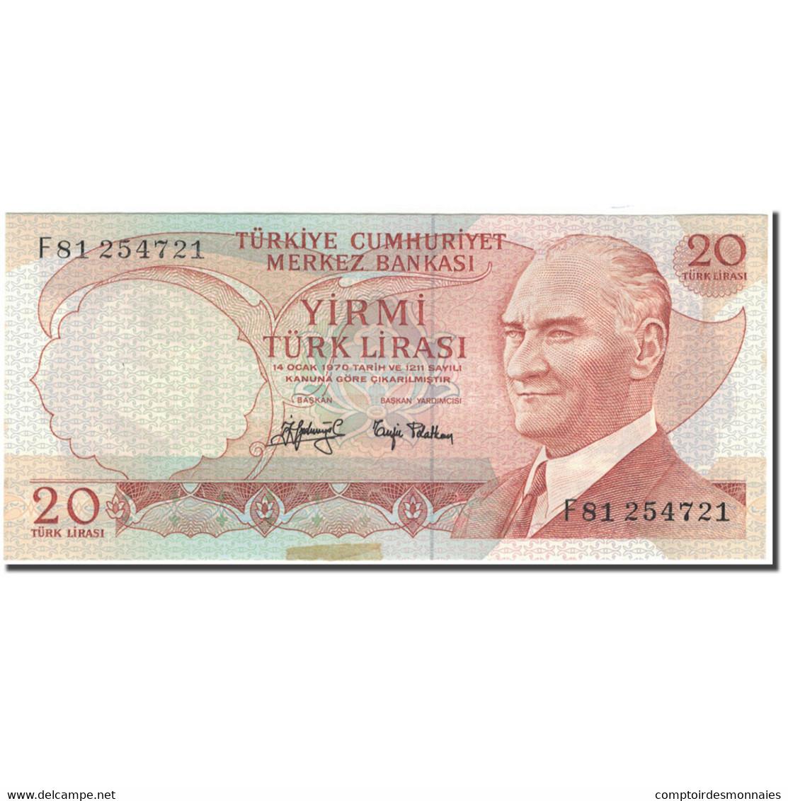 Billet, Turquie, 20 Lira, 1970, KM:187a, SUP - Turquie
