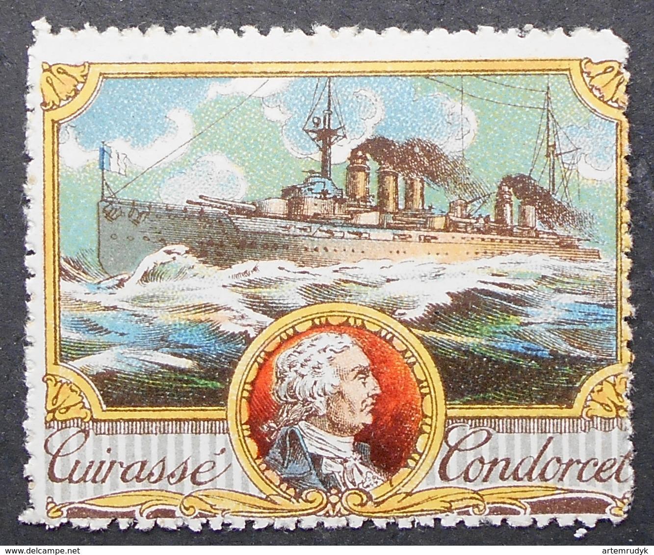 France Vignette Militaire Delandre Battleship Cuirasse Condorcet - Erinnofilie
