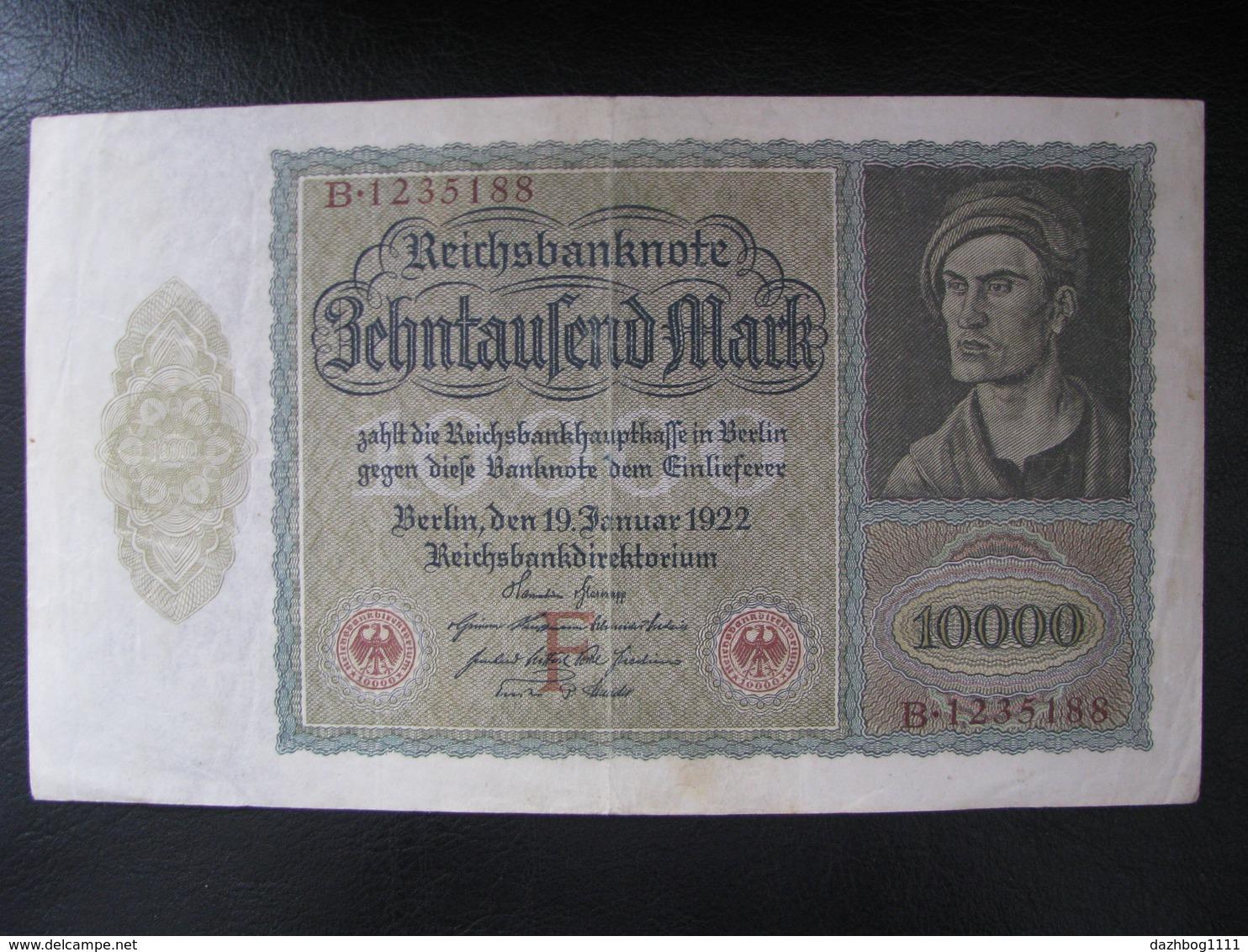Germany Weimar Republic 10,000 Marks 1922 F Condition - [ 3] 1918-1933: Weimarrepubliek