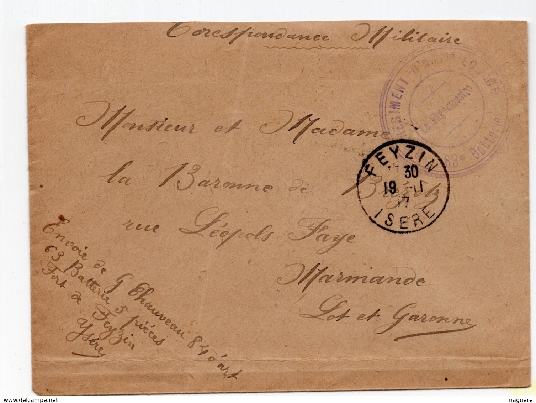 ENVELOPPE AVEC CACHET REGIMENT D INFANTERIE 69éme BATTERIE FEYZIN 1917 - Cachets Militaires A Partir De 1900 (hors Guerres)