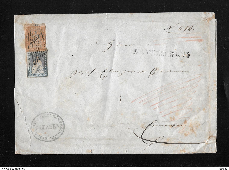 1854-1862 Helvetia (Ungezähnt) Strubel →  Briefumschlag Gemeindekanzlei Römerschwyl  ►SBK-23B & 25B Balkenstempel◄ - 1854-1862 Helvetia (Non-dentelés)