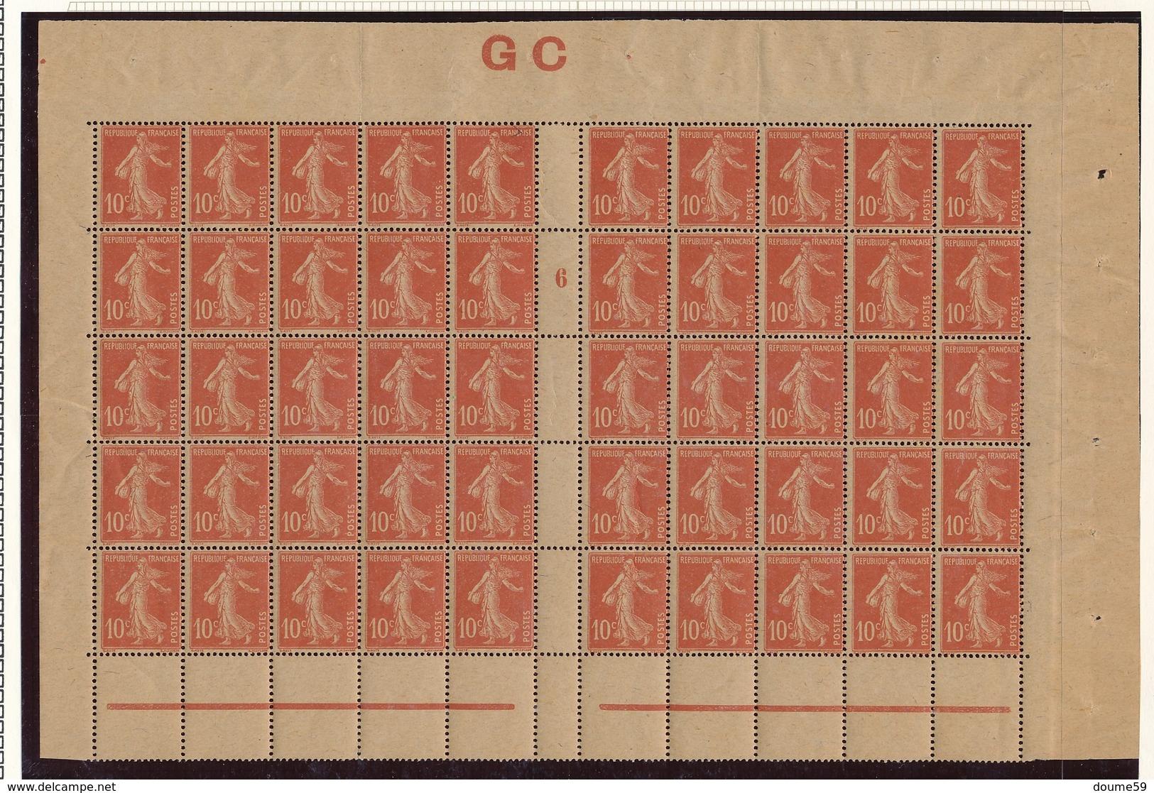 CR-8: FRANCE: Lot Avec N°138j**bloc De 50 Avec Mill 6 (manchette GC) - 1906-38 Semeuse Camée