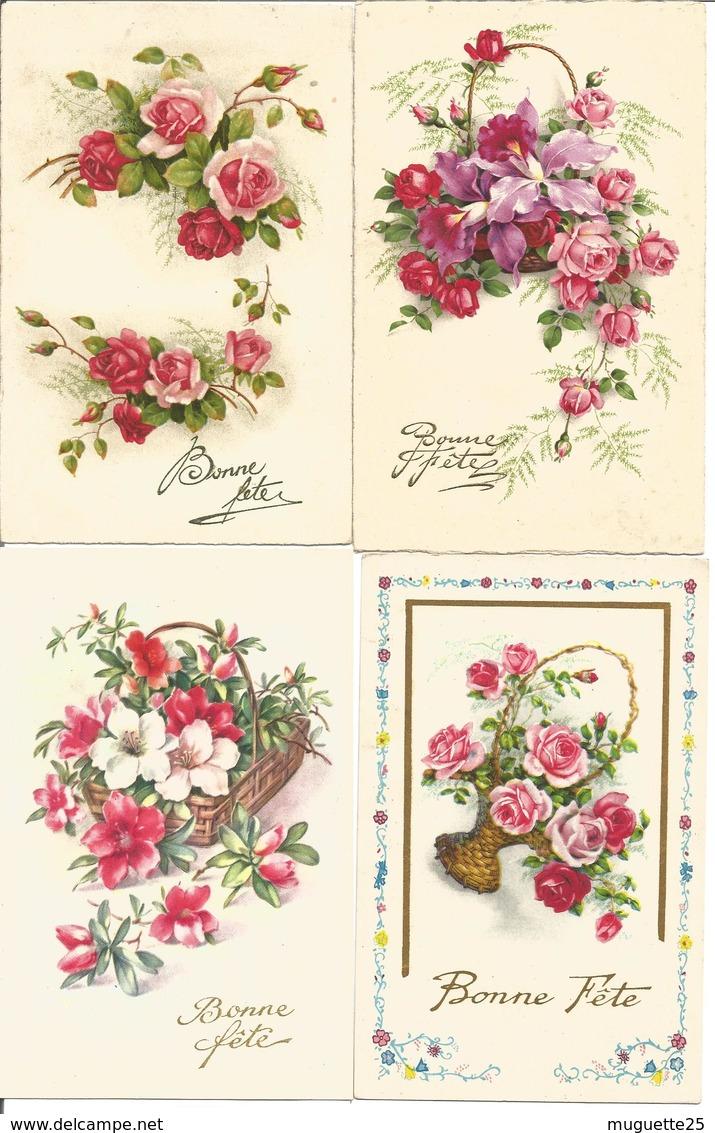 CPA BONNE FETE Sur Les Fleurs (roses, Anémones,tulipes, Oeillets, Pensées, Marguerites, Par Lot De 4 SOLDES - Fêtes - Voeux