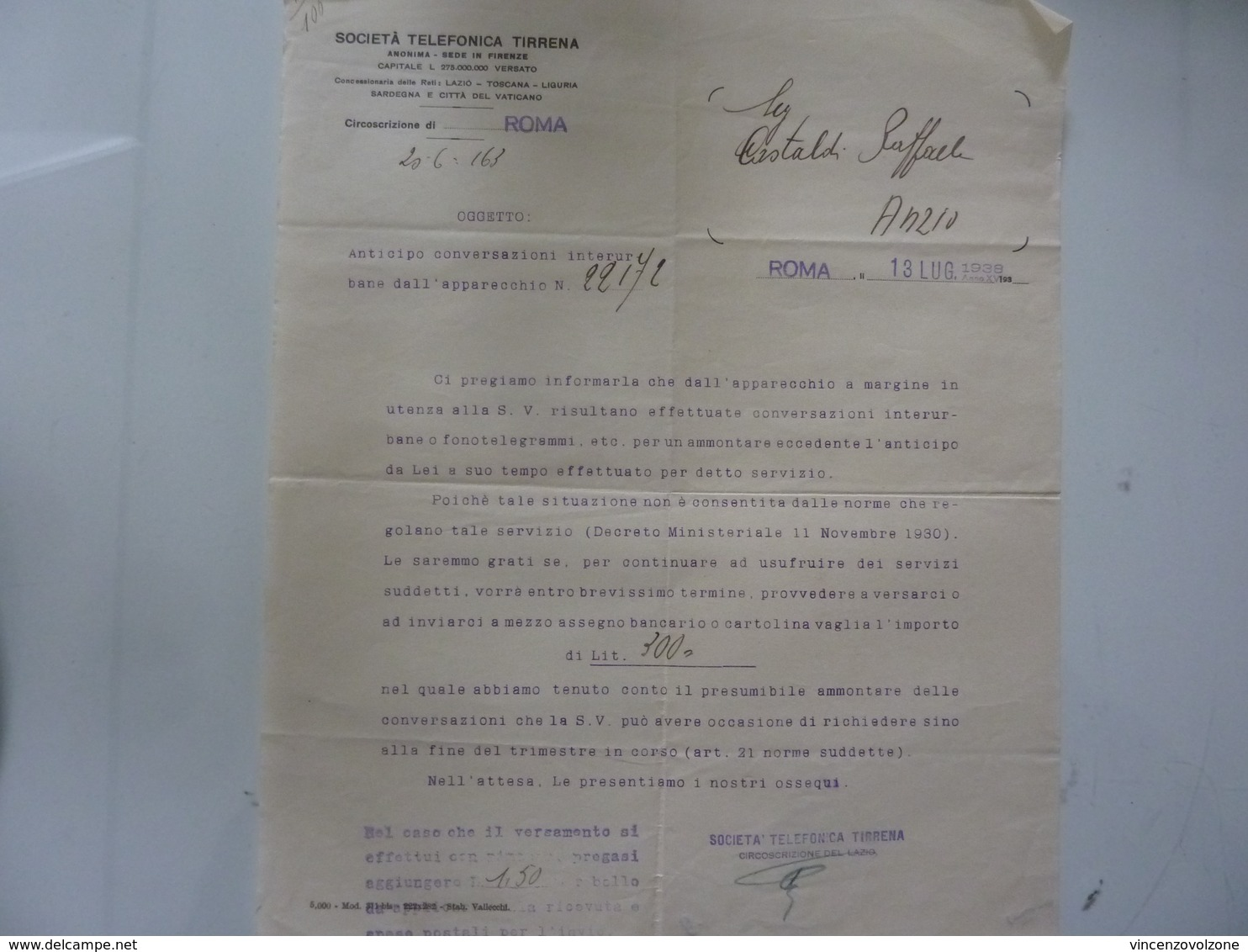 "Lettera Commerciale ""SOCIETA' TELEFONICA TIRRENA Roma"" 1938 - Italia"