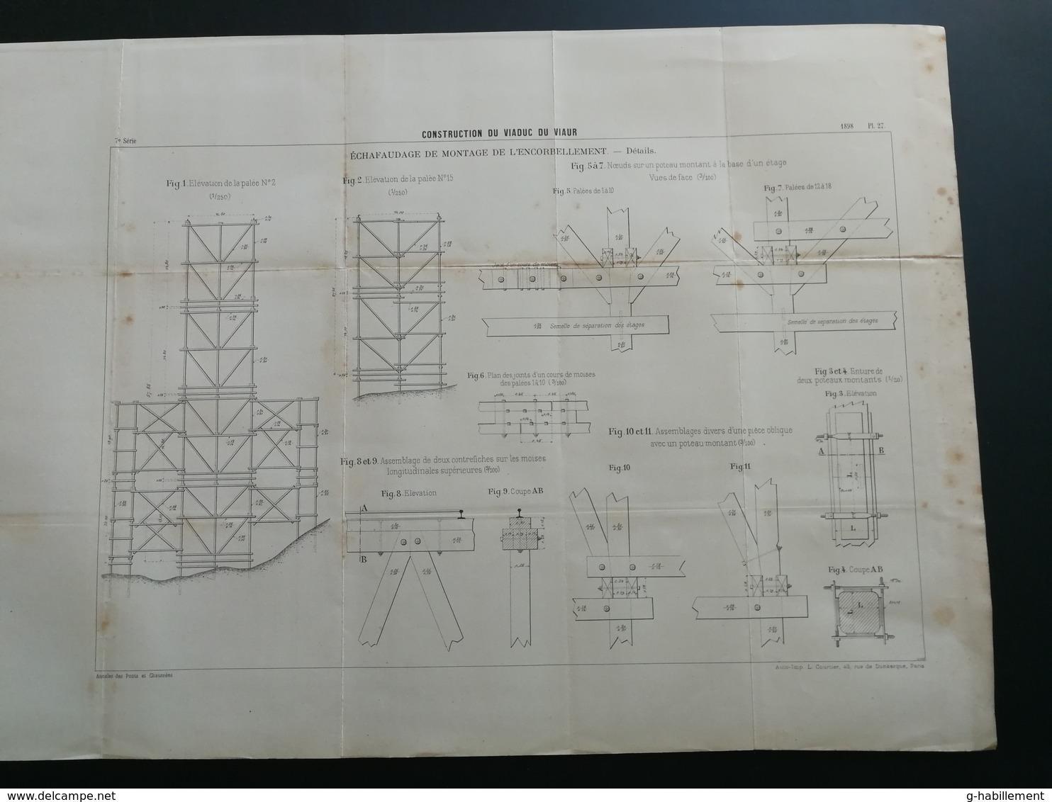 ANNALES PONTS Et CHAUSSEES (DEP12/81= - Contruction Du Viaduc Du Viaur - 1898 - Imp L. Courtier - (CLB23) - Travaux Publics