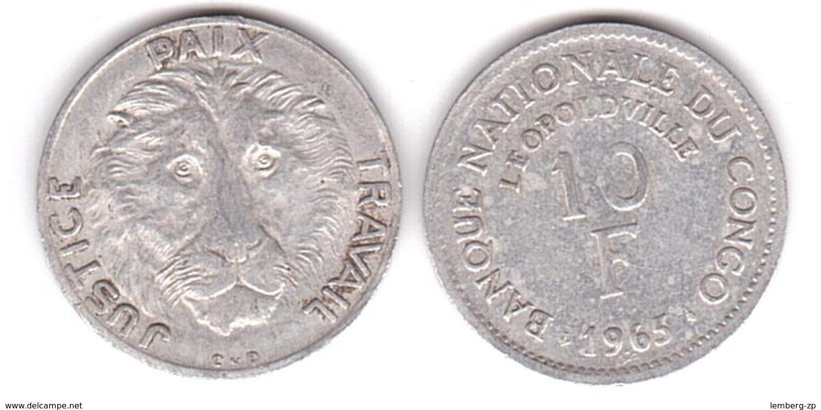 Congo - 10 Francs 1965 - F Lemberg-Zp - Congo (Rép. Démocratique, 1964-70)