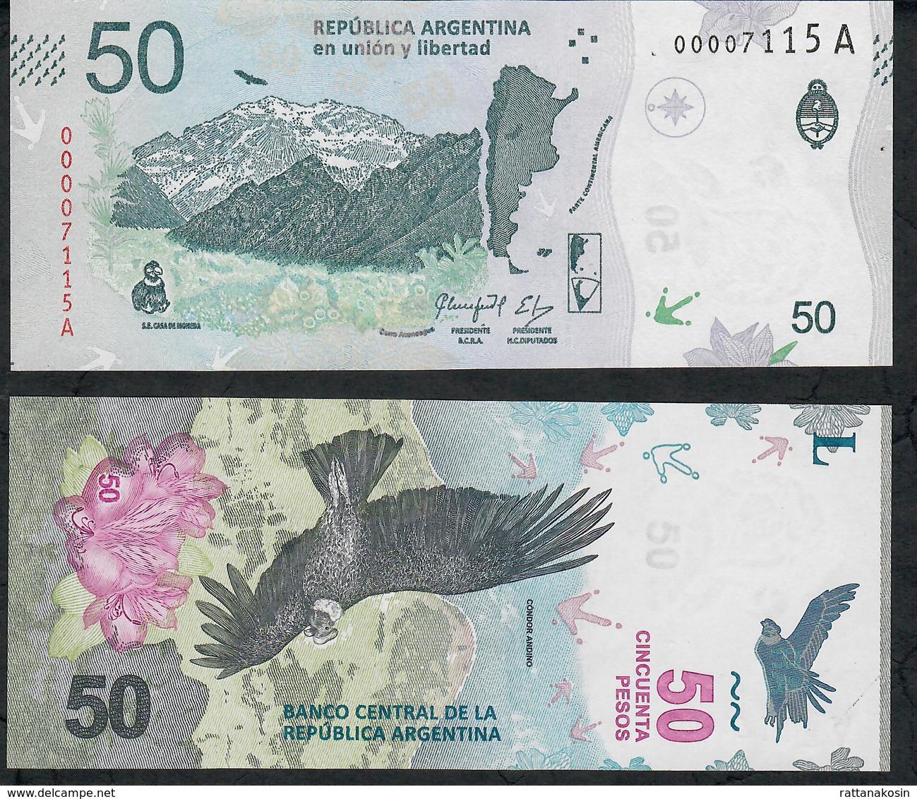 ARGENTINA Low # 00007115A P363 50 Pesos 2018 Serie A  UNC - Argentine