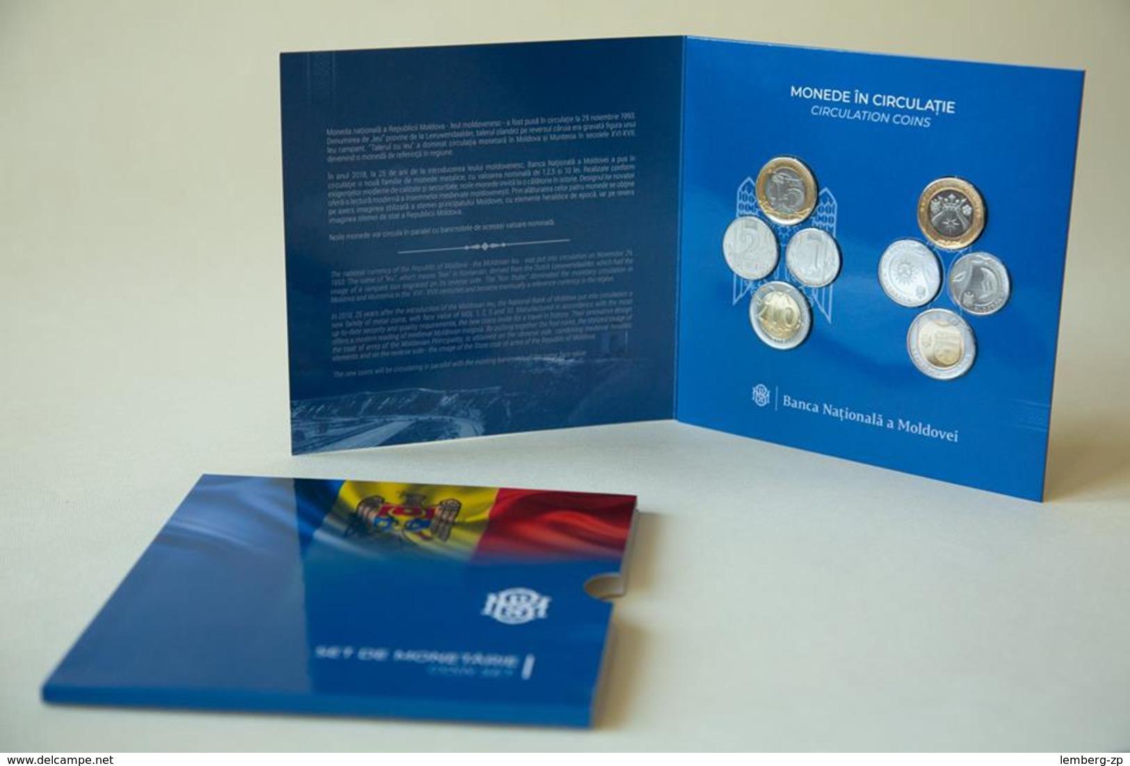 Moldova - Set 8 Coins 1  + 1  + 2 + 2 + 5 + 5 + 10 + 10 Lei 2018 UNC In Folder Lemberg-Zp - Moldavie