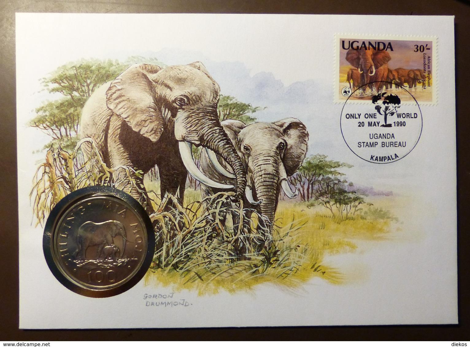 Numisbrief Coin Cover  Tanzania 100 Shilingi 1986 Uganda Elefant   #numis80 - Tanzania