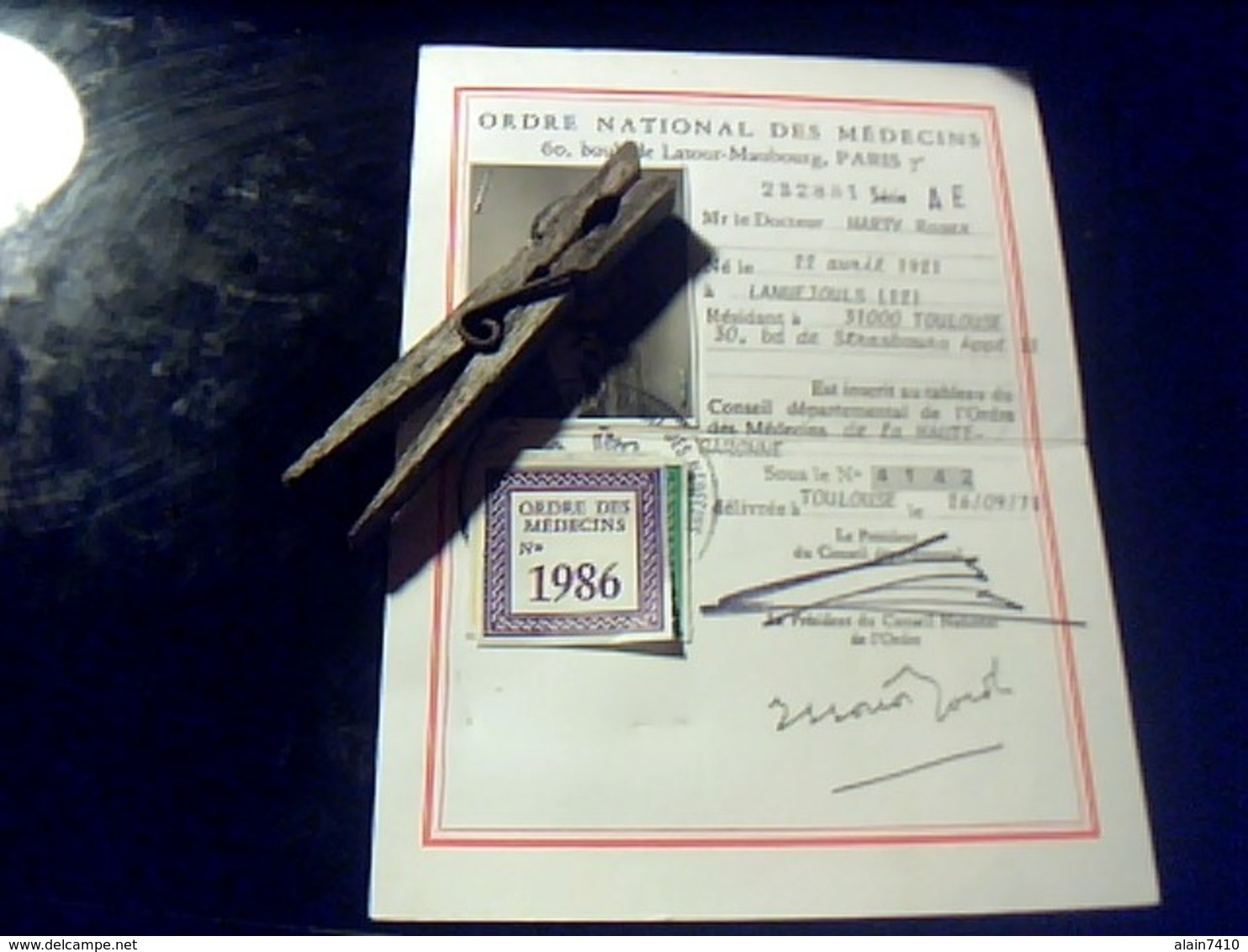 Carte D Identitè  Professionnelle Ordre National Des Medecins Annèe 1986 - Autres