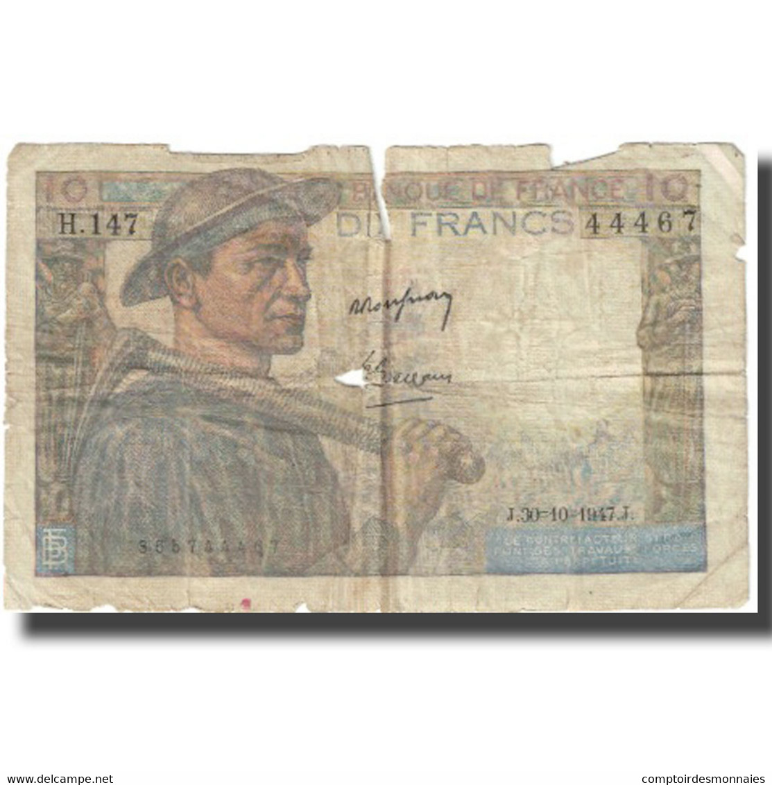 France, 10 Francs, 1947, 1947-10-30, AB, Fayette:8.18, KM:99f - 1871-1952 Circulated During XXth