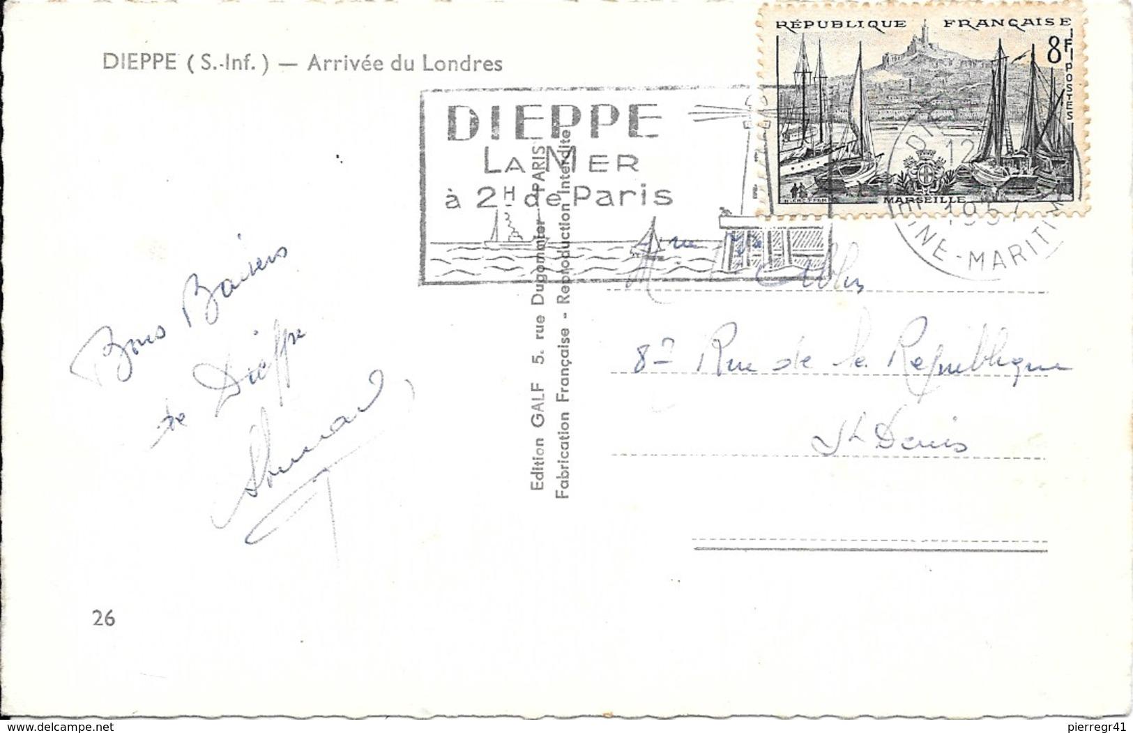 CPA-1950-76- DIEPPE-Arrivée Du-FERRY-LONDRES-au Port-Vue Aerienne-Edit Galf-TBE - Ferries
