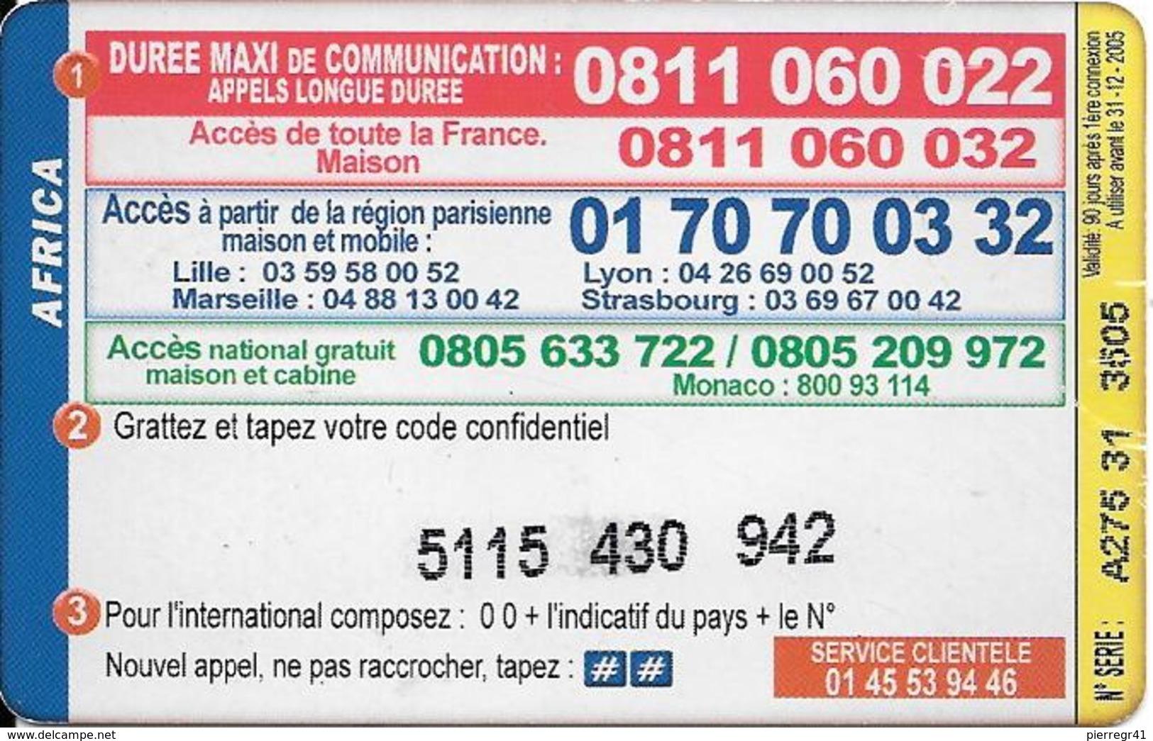 CARTE PREPAYEE-IRADIUM-7.5 €-AFRICA-31-12-2005--V°-Code PN° Sur Fond Blanc-en Biais -T BE - Autres Prépayées