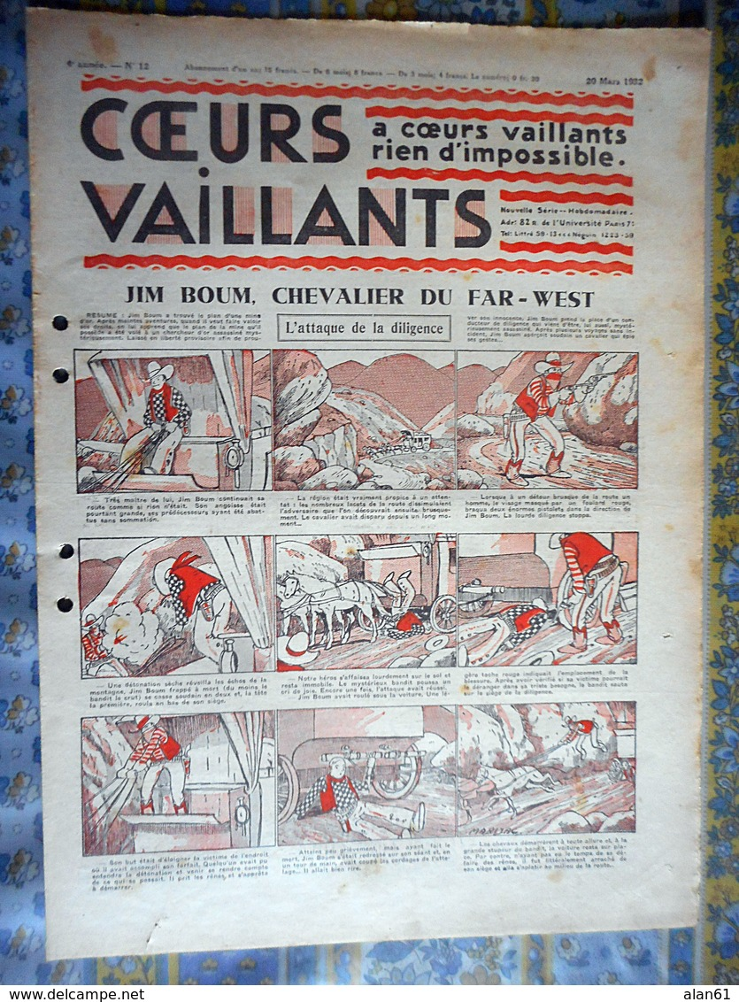COEURS VAILLANTS 1932 N° 12  JIM BOUM CHEVALIER DU FAR WEST TINTIN ET MILOU AU CONGO HERGE - Revistas Y Periódicos