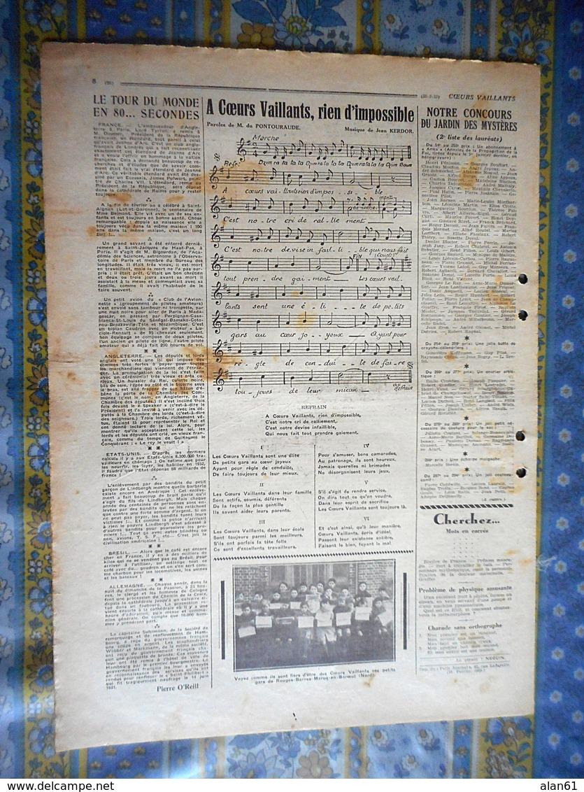 COEURS VAILLANTS 1932 N° 12  JIM BOUM CHEVALIER DU FAR WEST TINTIN ET MILOU AU CONGO HERGE - Otras Revistas