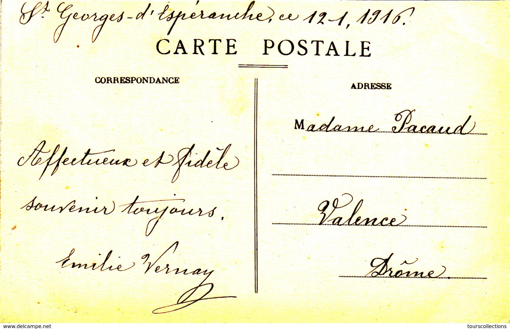 CPA 38 @ SAINT GEORGES D'ESPERANCHE - HOTEL VERNAY - La Place En 1916 - Autres Communes