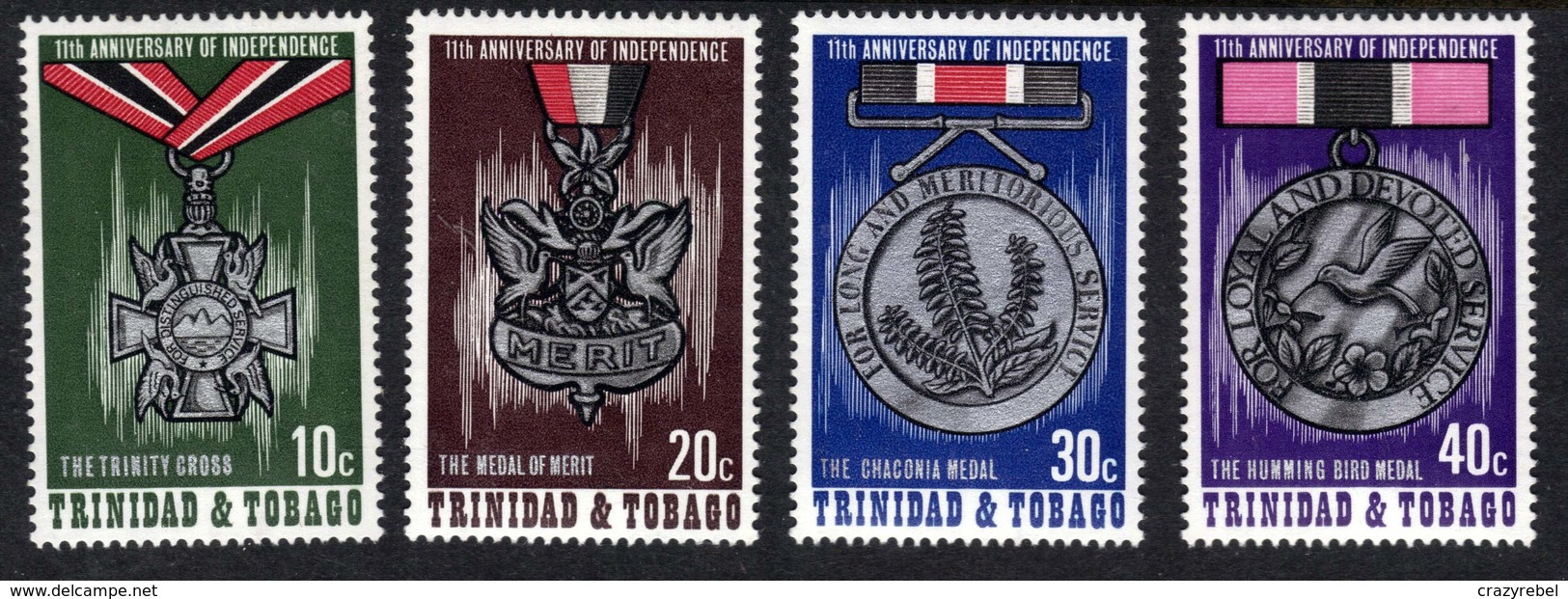 Trinidad & Tobago 1973 QE2 Anniv Independence Medals Umm SG 440 - 443( J1449 ) - Trinidad & Tobago (1962-...)