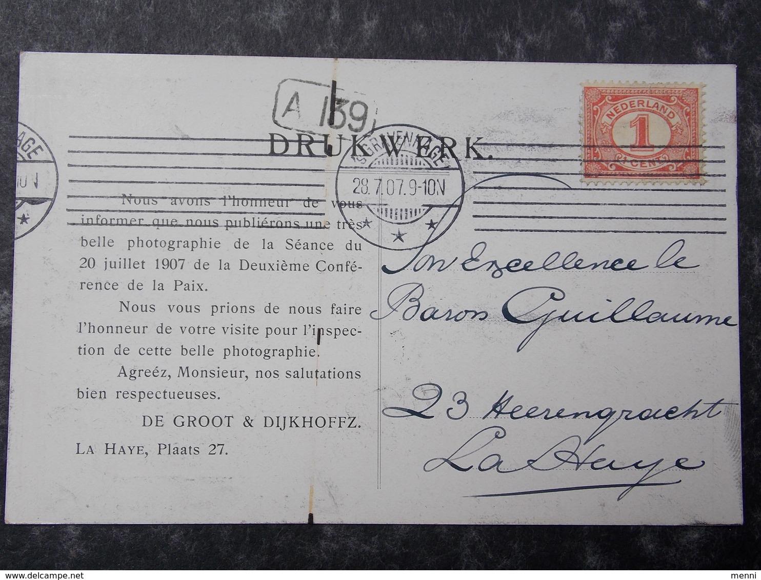 HOLLAND NEDERLAND NETHERLANDS - Den Haag - La Haye - 1907 PEACE CONFERENCE - Postcard #11/11 - Den Haag ('s-Gravenhage)