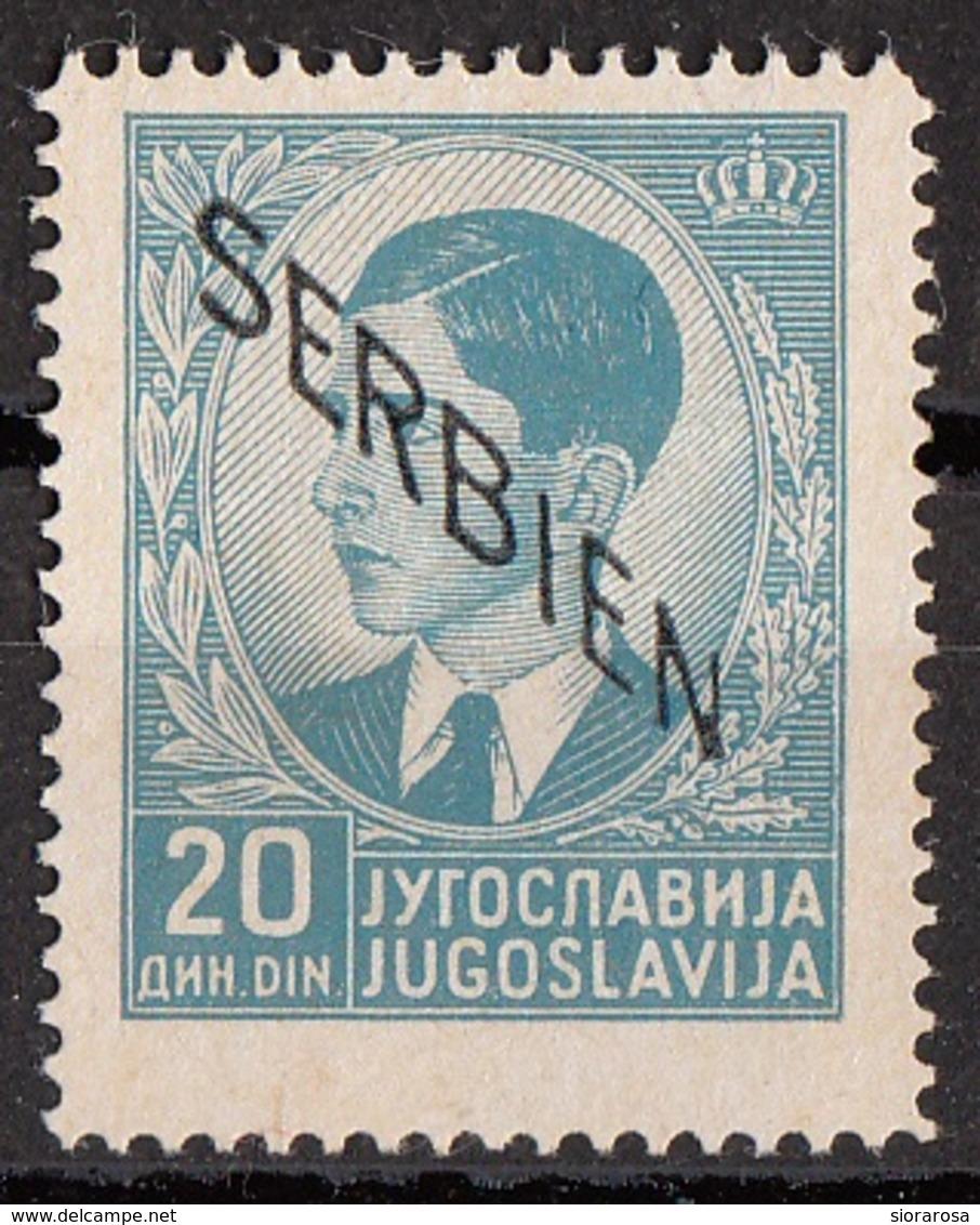 """Serbia 1941 Sc. 2N14 King Peter II """"Issued Under German Occupation"""" Overprint SERBIEN Nuovo - Serbia"""