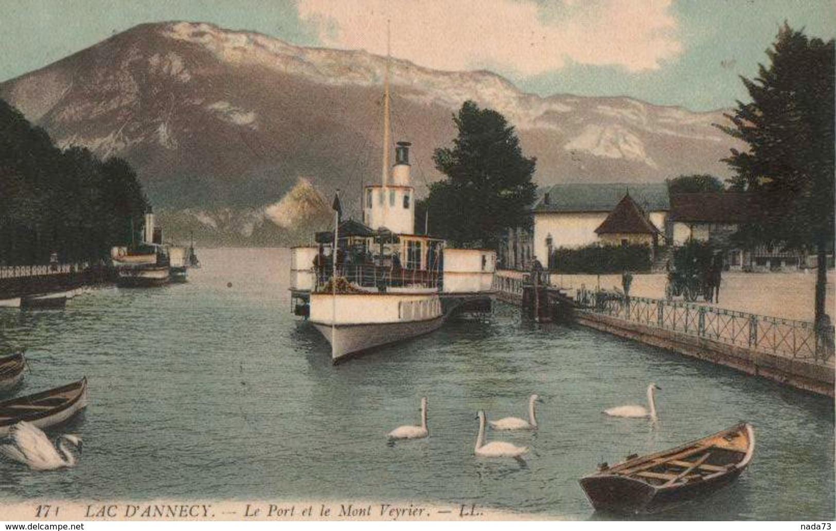 CPA 74 Lac D'Annecy Le Port Et Mont Veyrier Colorisée N°174 - Annecy