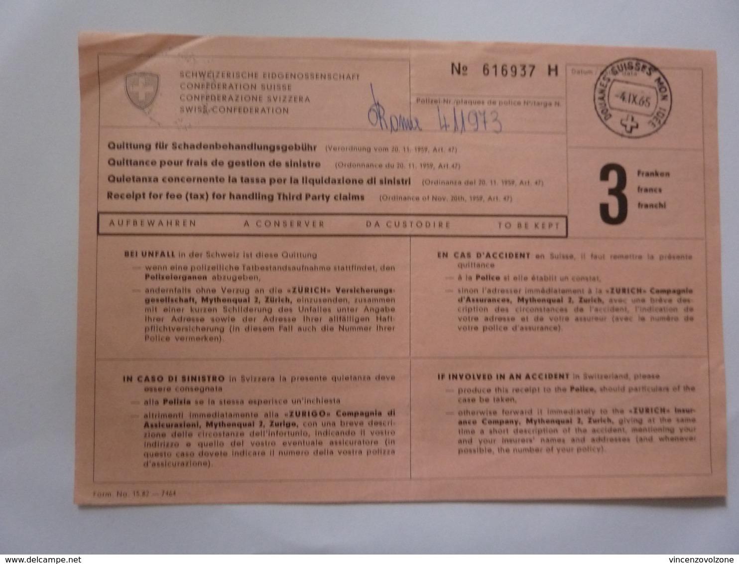 """Ricevuta """"QUIETANZA CONCERNENTE LA TASSA PER LA LIQUIDAZIONE DI SINISTRI"""" 1965 - Svizzera"""