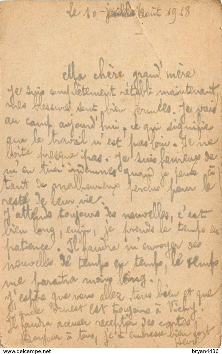 CPA PRISONNIER HEILSBERG - PRUSSE ORIENTALE - GEPRUFT  46 - POILU Du 414° RI -  Vers VICHY (ALLIER)  - AOUT 1918 - Franchise Stamps