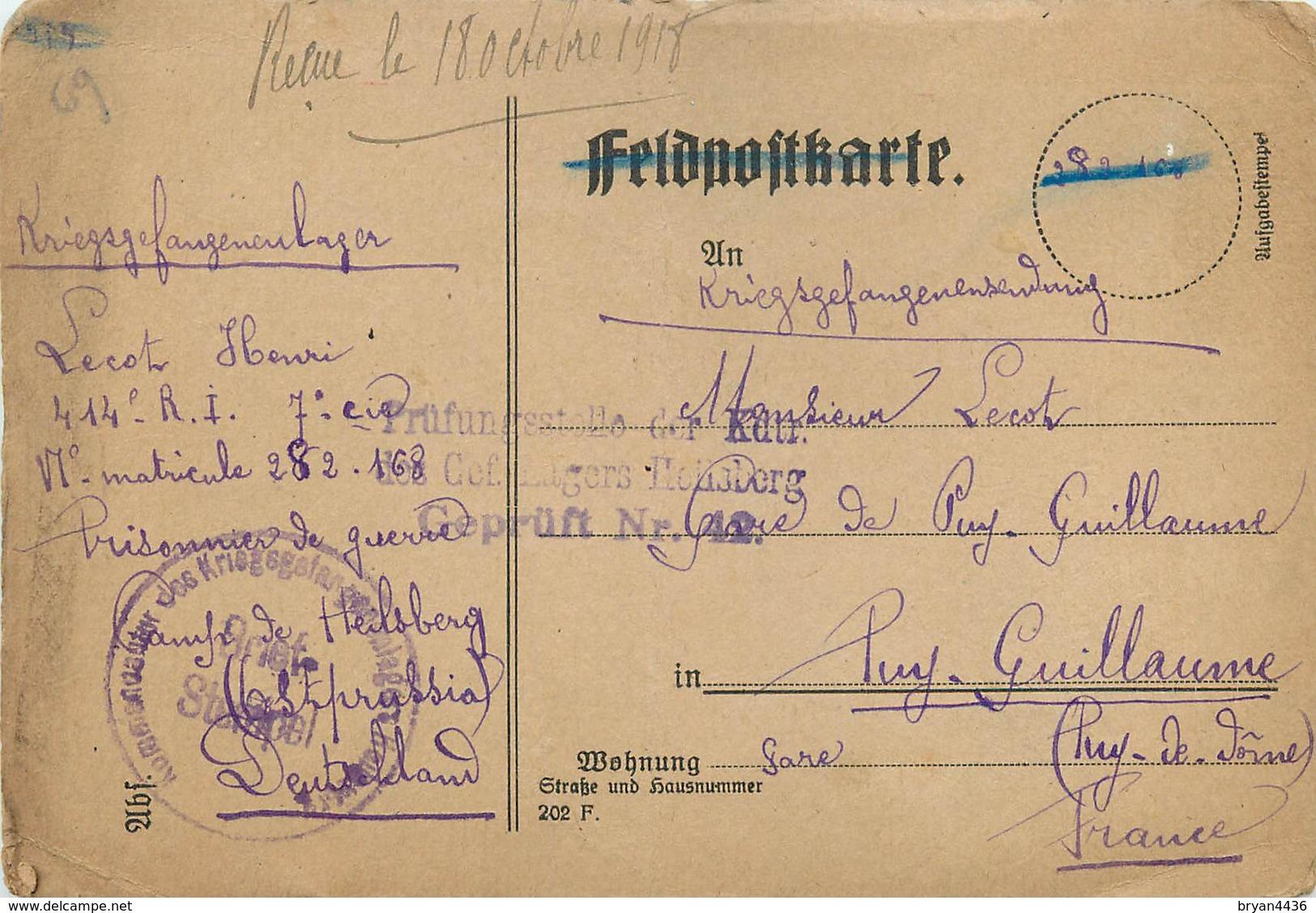 CPA PRISONNIER HEILSBERG - PRUSSE ORIENTALE - GEPRUFT  46 - POILU Du 414° RI -  Vers VICHY (ALLIER)  - SEPT. 1918 - War 1914-18