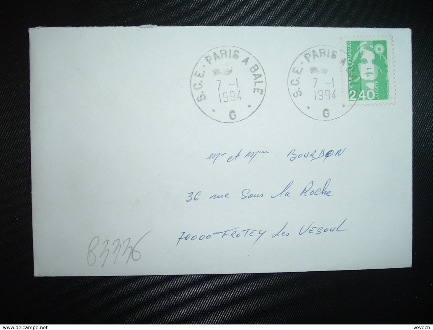 LETTRE TP M.DE BRIAT 2,40 OBL.7-1 1994 S.C.E. PARIS A BALE  G (AMBULANT) - 1997-04 Marianne Du 14 Juillet