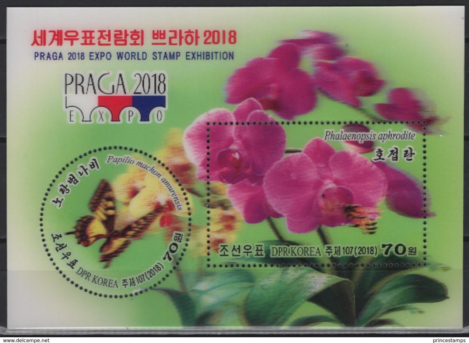 K* (2018) - Block -  /  Flowers - Blumen - Orchids - Butterflies - Papillons - Bee - Bees - Abeille - UNUSUAL 3D - Orchideeën