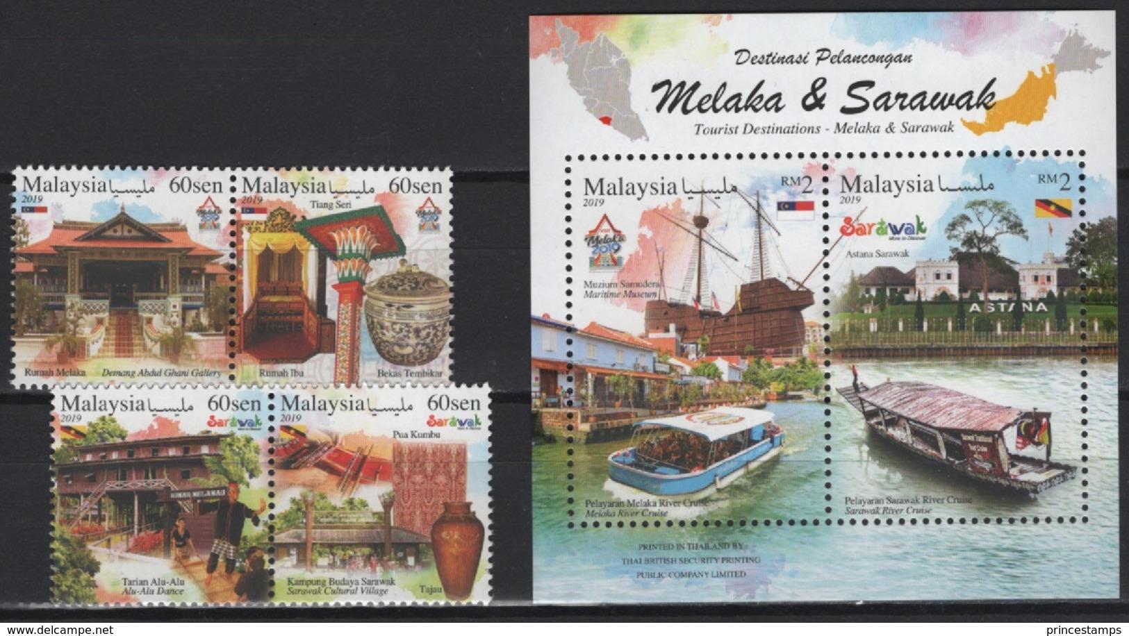 Malaysia (2018) - Set + Block -  /  Architecture - Heritage - Tourism - Ships - Bateaux - Vakantie & Toerisme