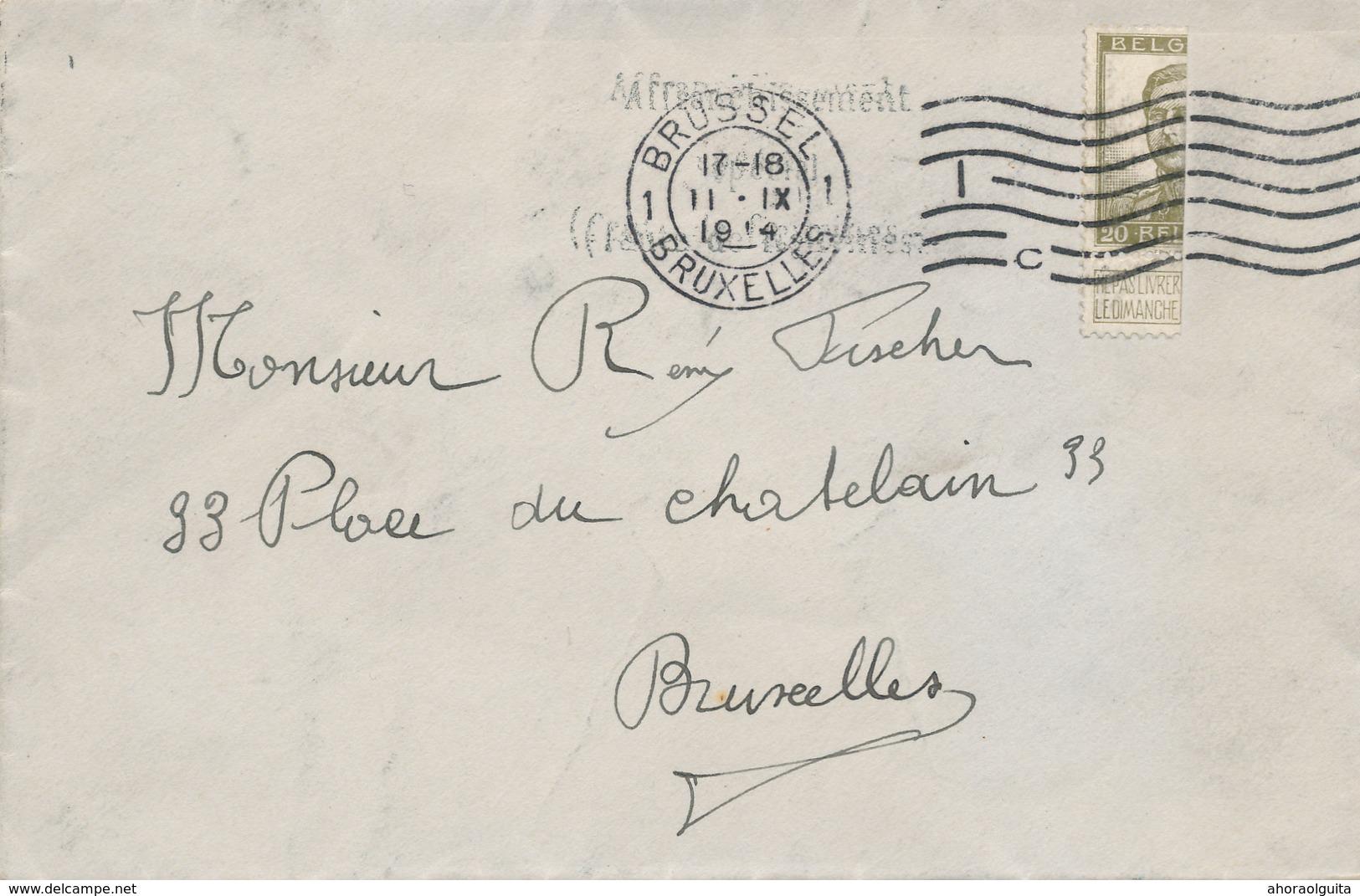 879/28 - PREMIERS MOIS DE GUERRE - Enveloppe TP Pellens Coupé En Deux - BRUXELLES 11 IX 1914 - Invasion