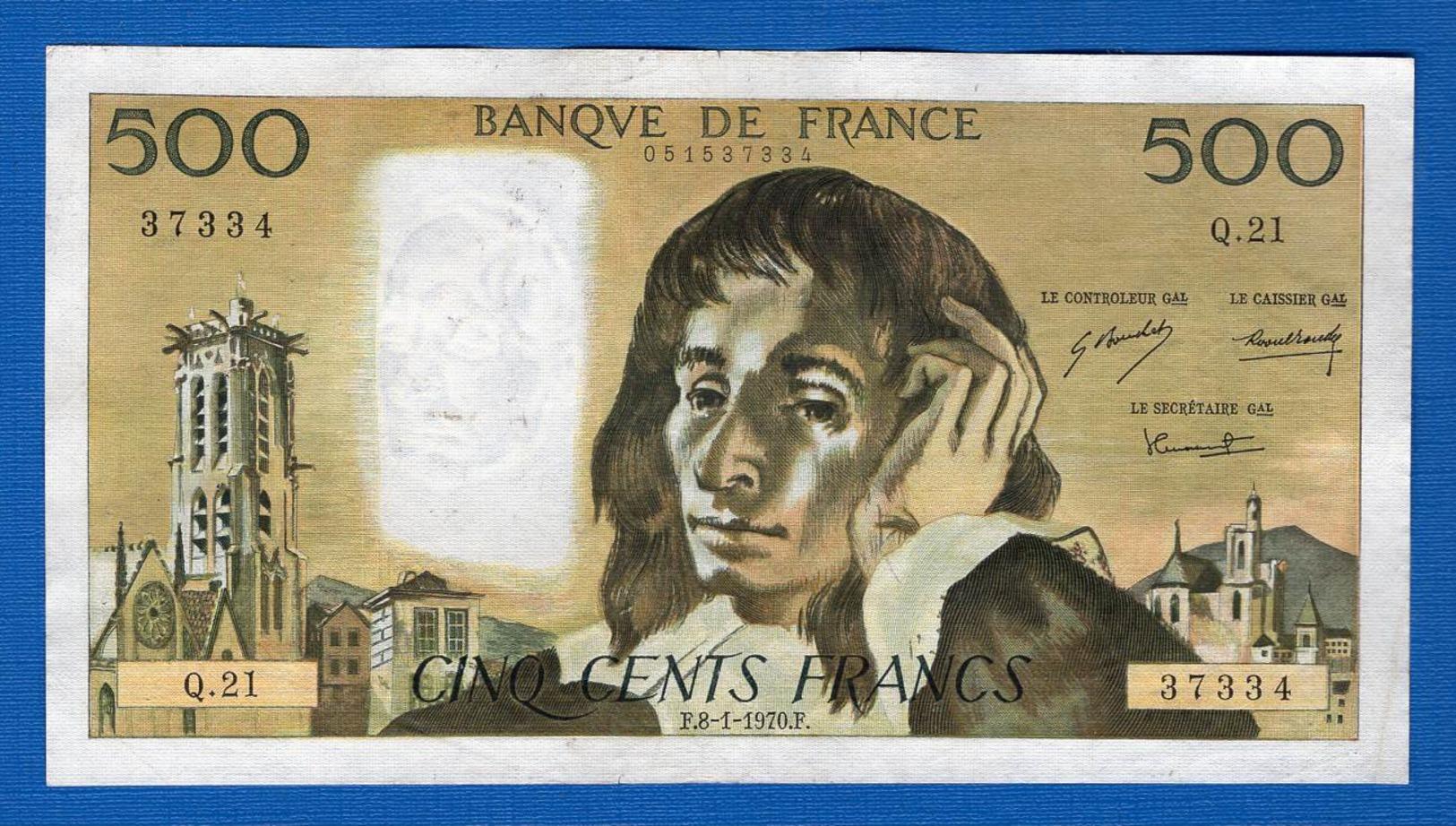 500 Fr  Du  8/1/1970 - 500 F 1968-1993 ''Pascal''
