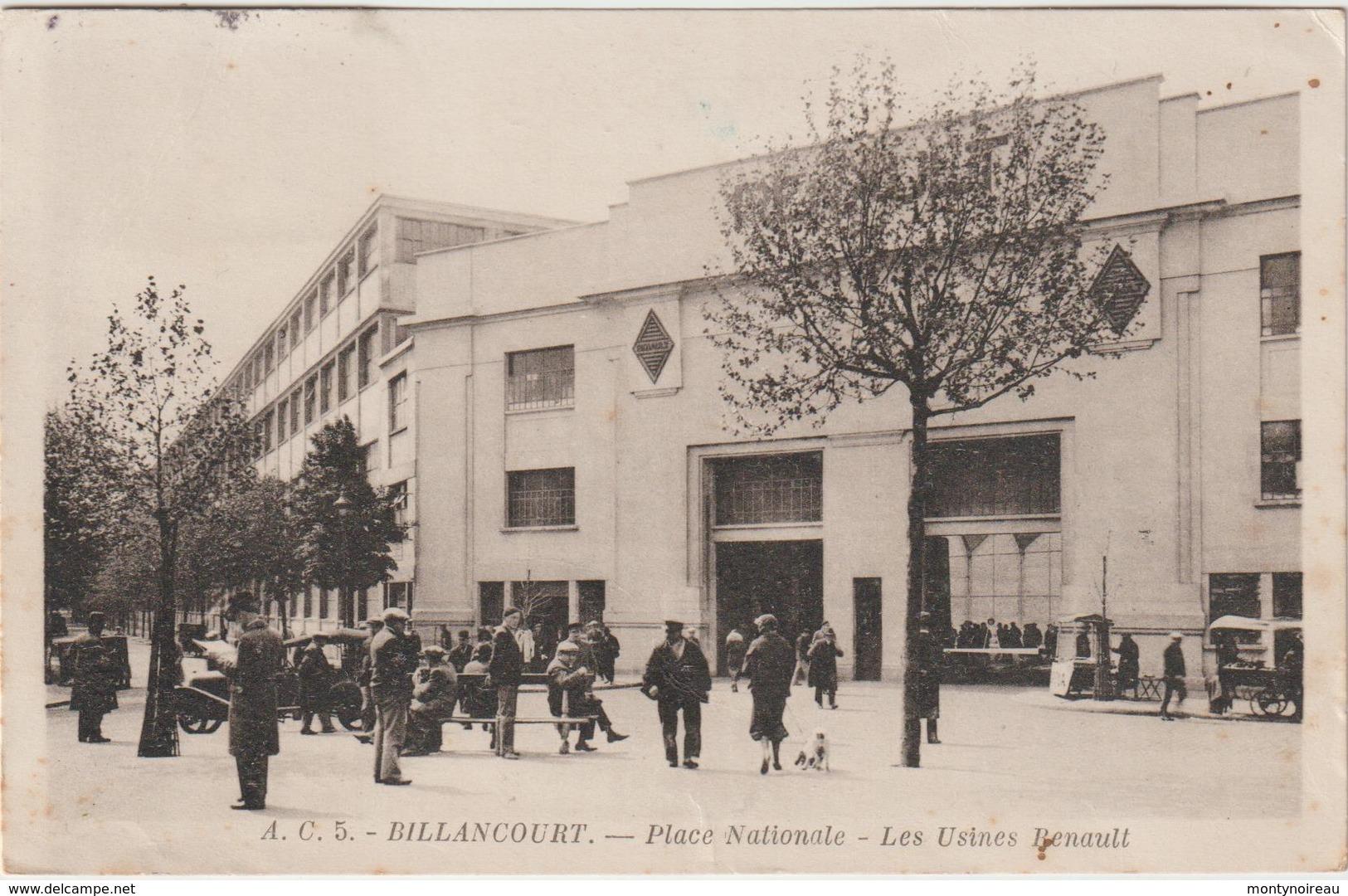 Hauts  De  Seine : BILLANCOURT - Boulogne : Place  Nationale , Usines  Renault - Boulogne Billancourt