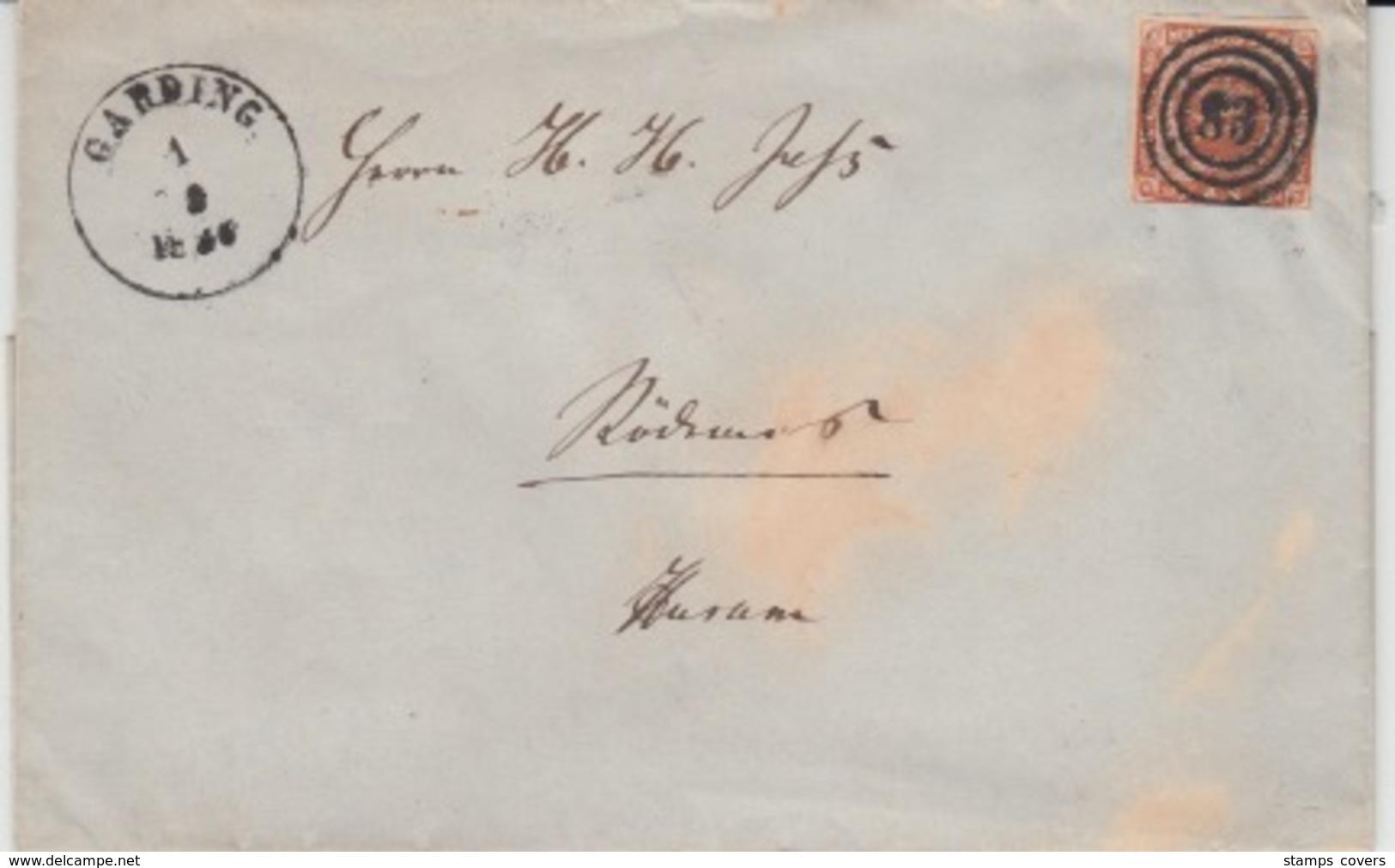 DENMARK USED COVER MICHEL 1 GARDING - 1851-63 (Frederik VII)