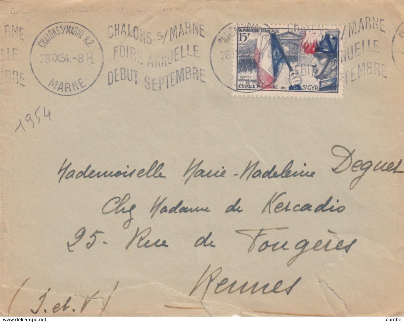 SEUL SUR LETTRE. 1954 ST CYR  996 - 1921-1960: Modern Tijdperk