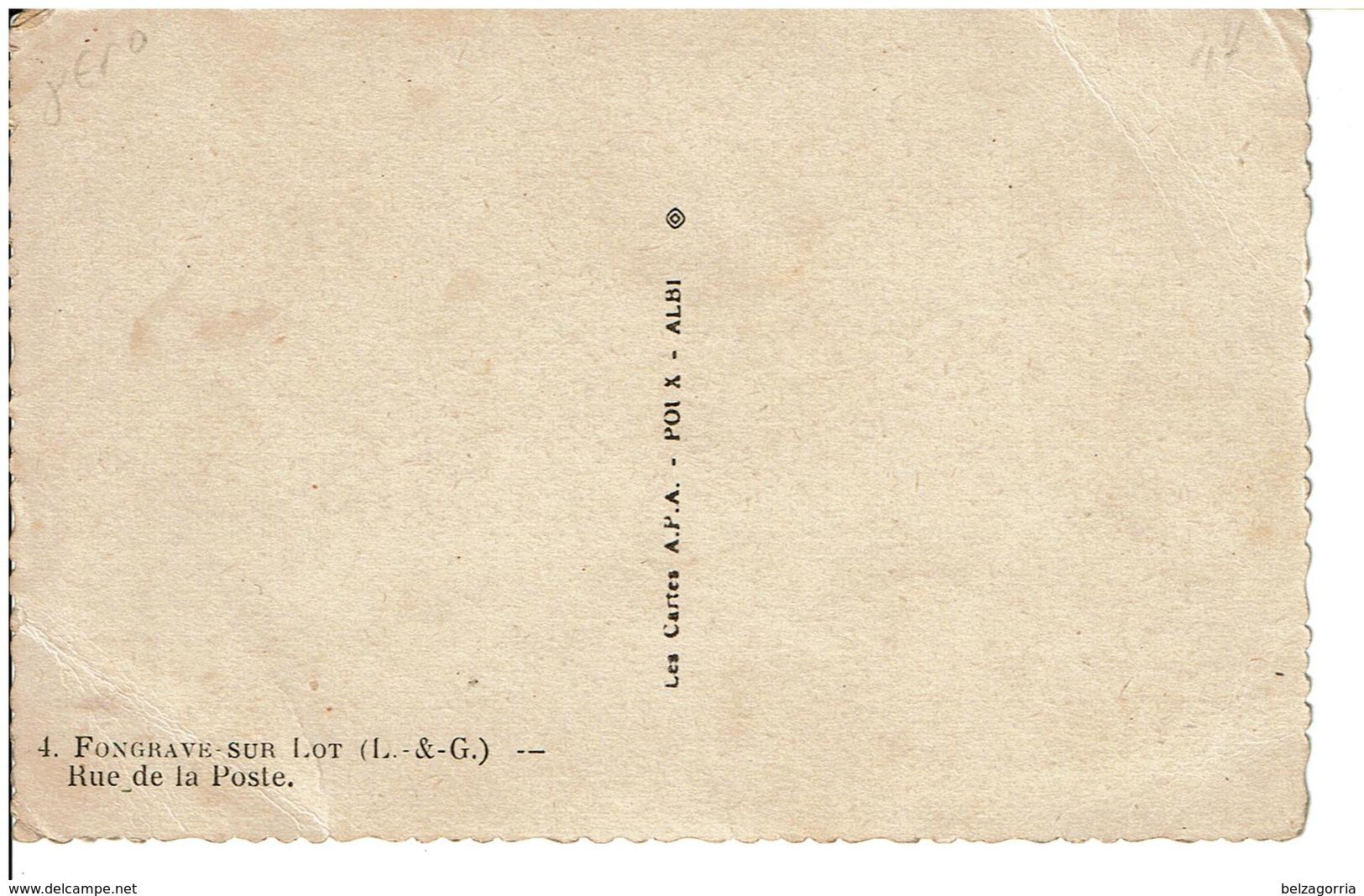 FONGRAVE  -  Rue De La Poste  - ( Télégraphe,Poste,Téléphone,Postier )  - Carte Pas Courante - France