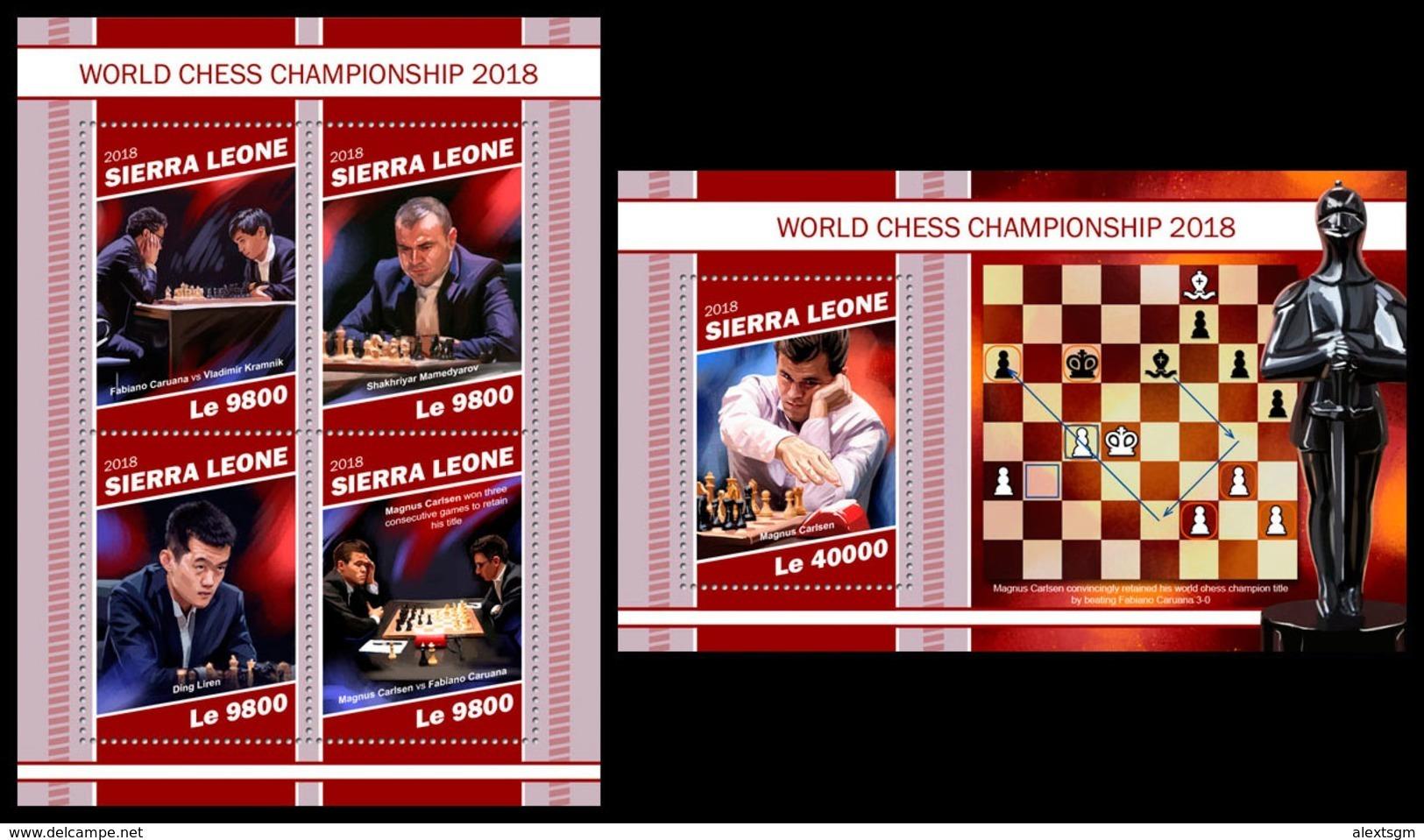 SIERRA LEONE 2018 - Chess Championship, M/S + S/S. Official Issue - Schaken