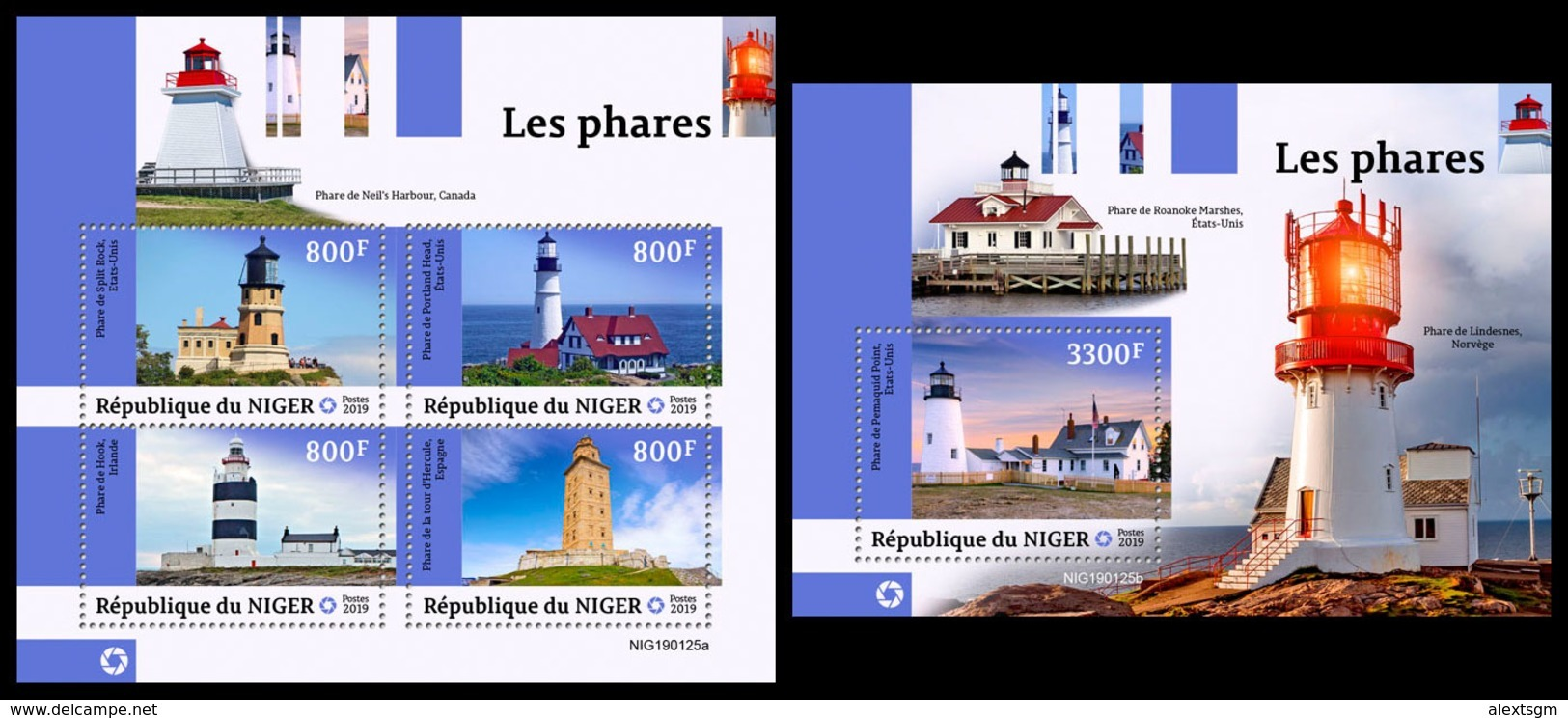 NIGER 2019 - Lighthouses, M/S + S/S. Official Issue - Niger (1960-...)