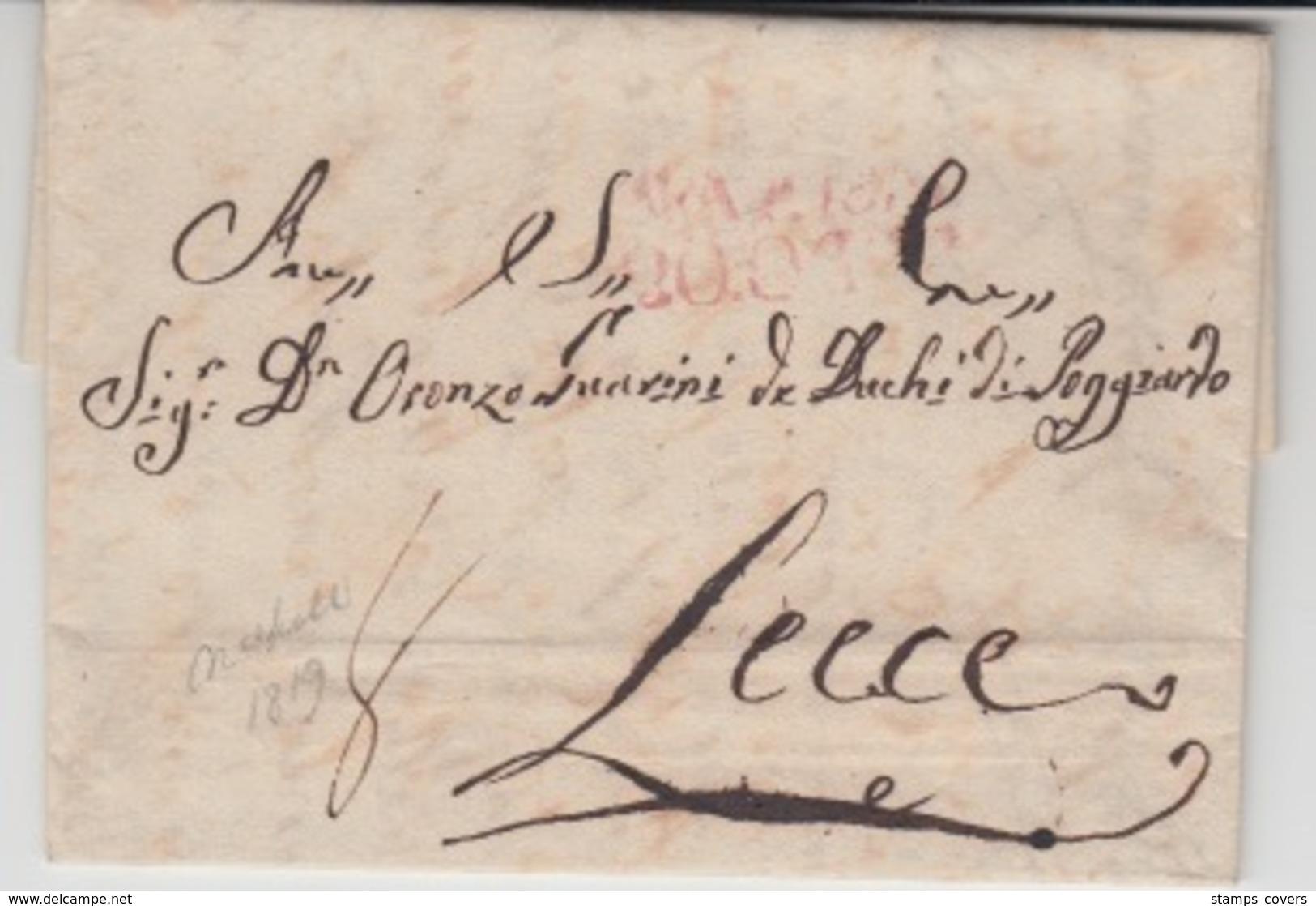 ITALIA USED COVER 1819 NAPOLI LECCE - 1. ...-1850 Prephilately