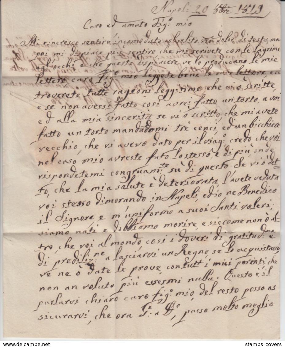 ITALIA USED COVER 1819 NAPOLI LECCE - Italy