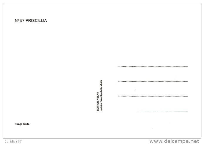 Aslan  Erotic Risque Postcard - Sexy Nude Nº 57 Priscillia, Limited Edition - Size: 15x10 Cm. Aprox. - Aslan