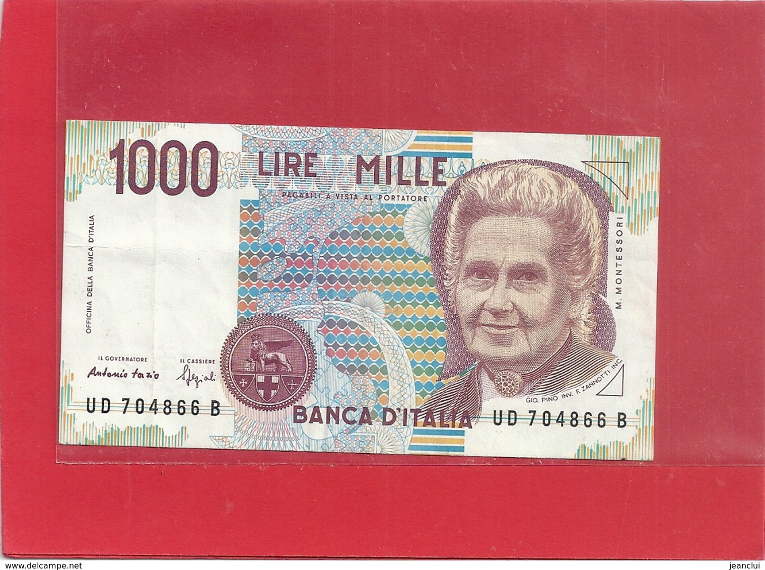 BANCA D'ITALIA . 1.000 LIRE . M. MONTESSORI . 3-10-1990 N° UD 704866 B   . 2 SCANES - [ 2] 1946-… : République